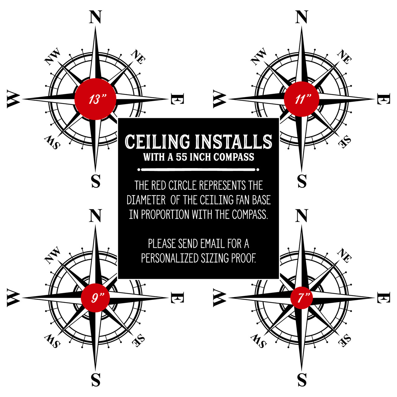 Use this guide to help you pick a compass decal size to be placed under a ceiling light fixture.