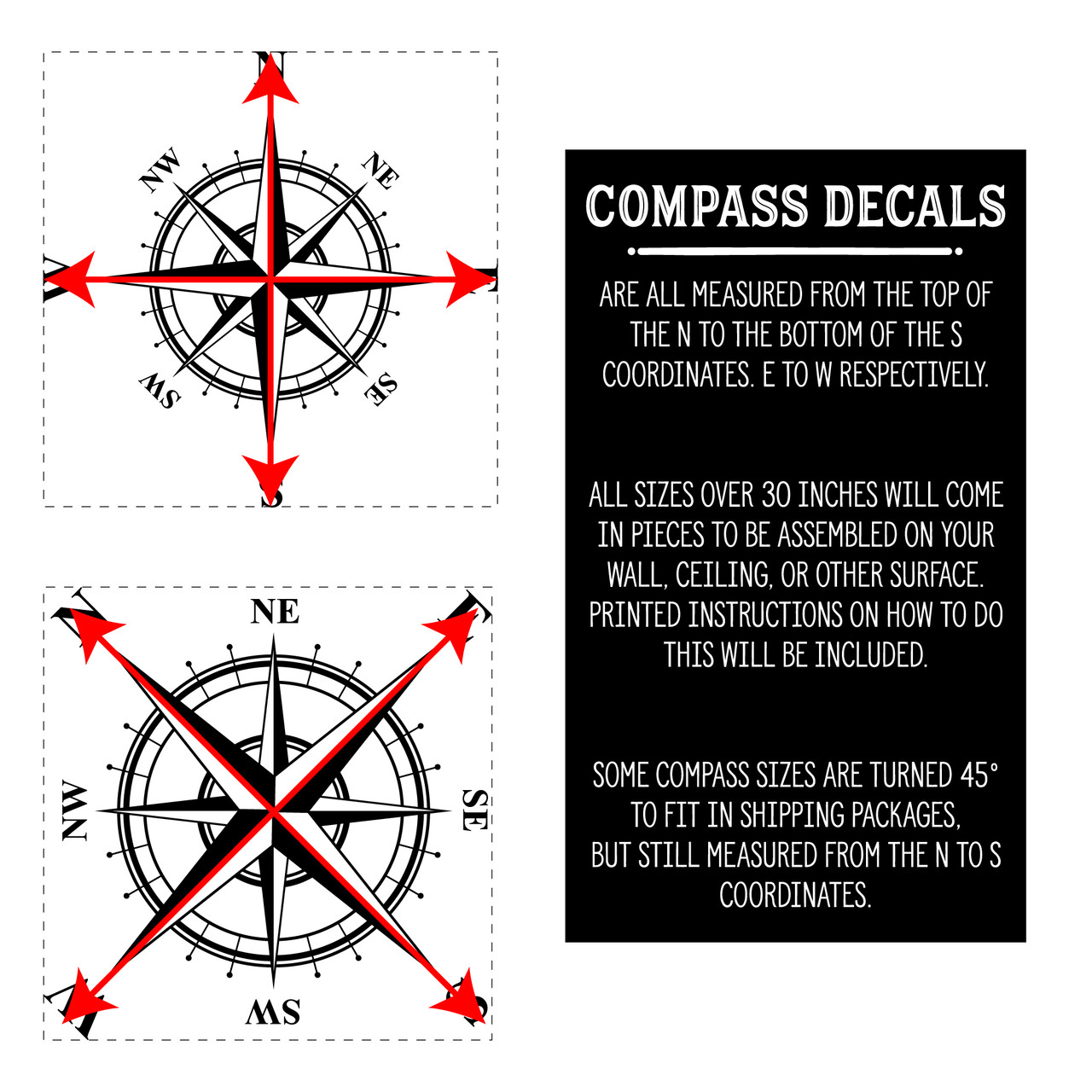 The Charles compass wall decal is measured from the top of the N to the bottom of the S, as shown here.