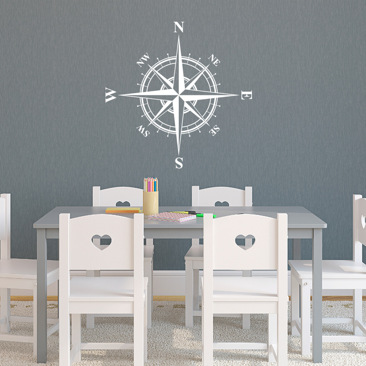 The Charles compass wall decal shown here in white vinyl.