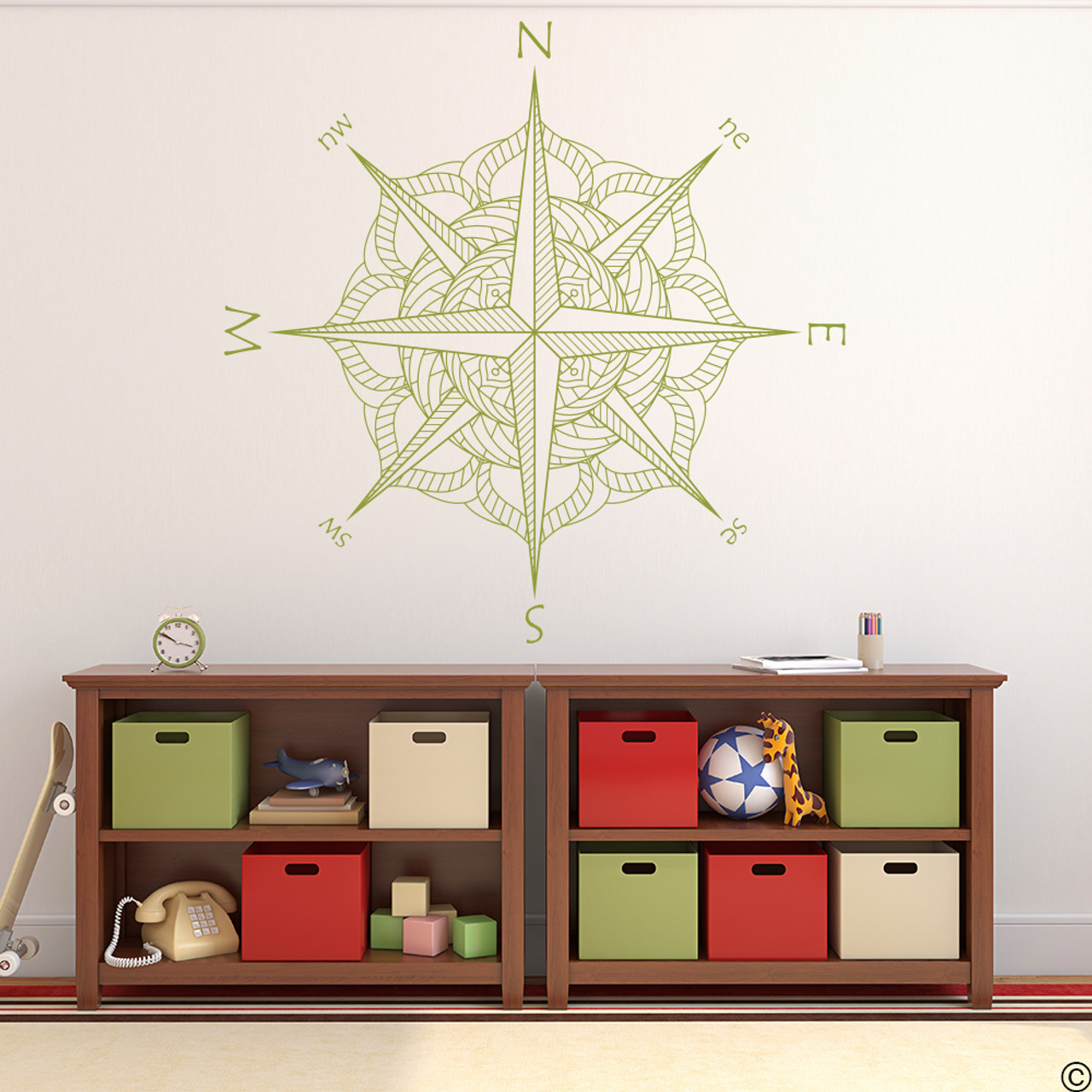 The Catalina compass rose wall or ceiling decal in olive