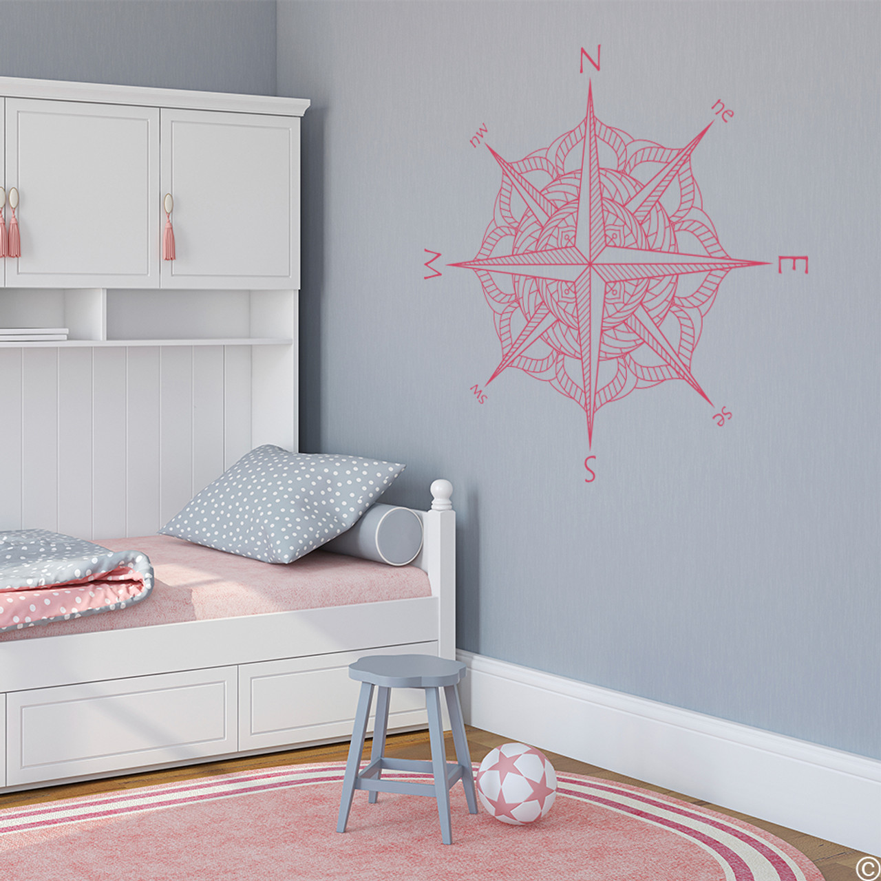 The Catalina compass rose wall or ceiling decal in lipstick