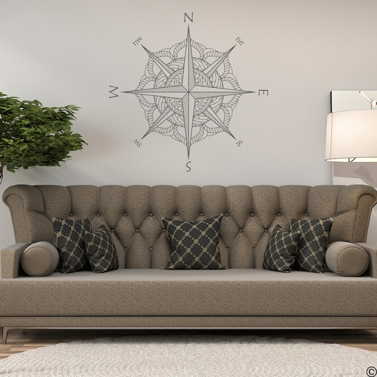The Catalina compass rose wall or ceiling decal in black