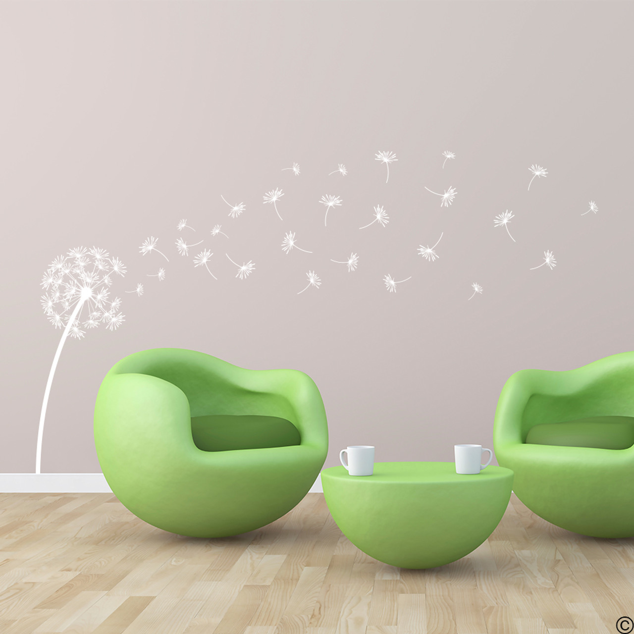 The Glinda dandelion vinyl wall decal in white