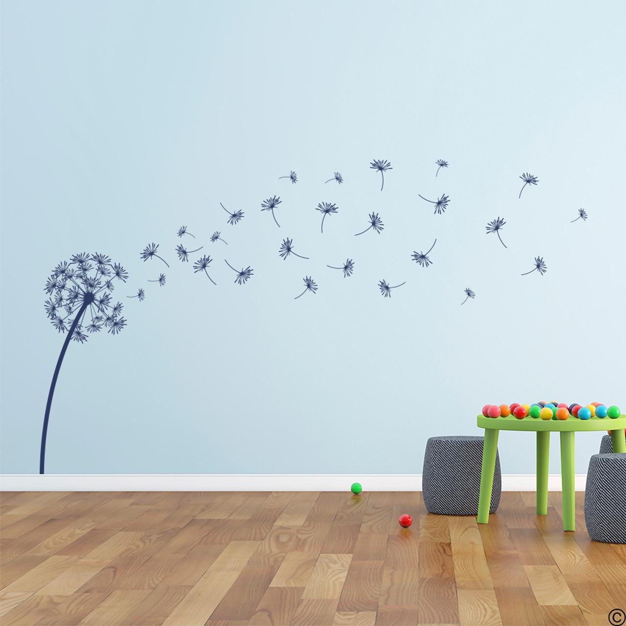 The Glinda dandelion vinyl wall decal in dark blue