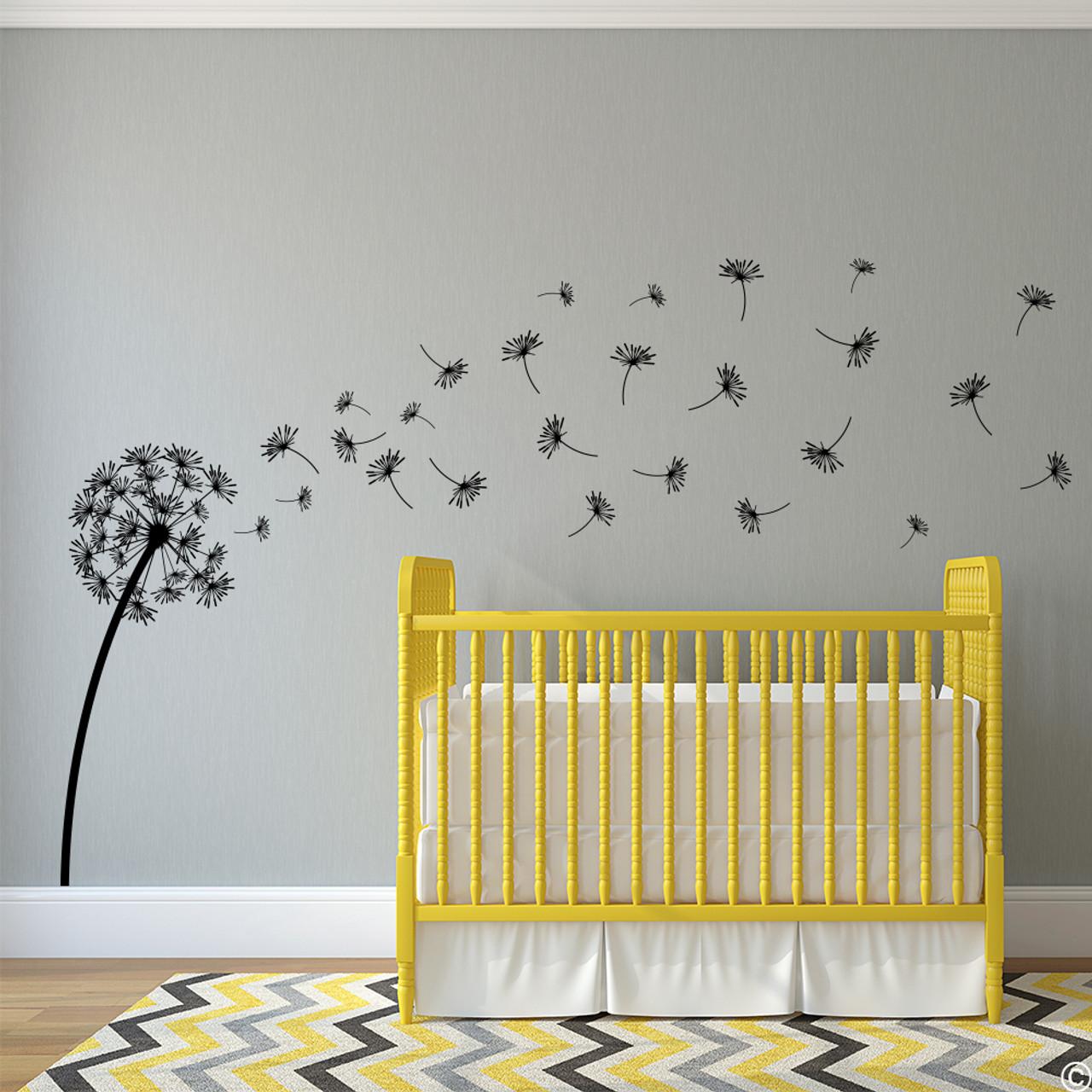 The Glinda dandelion vinyl wall decal in black