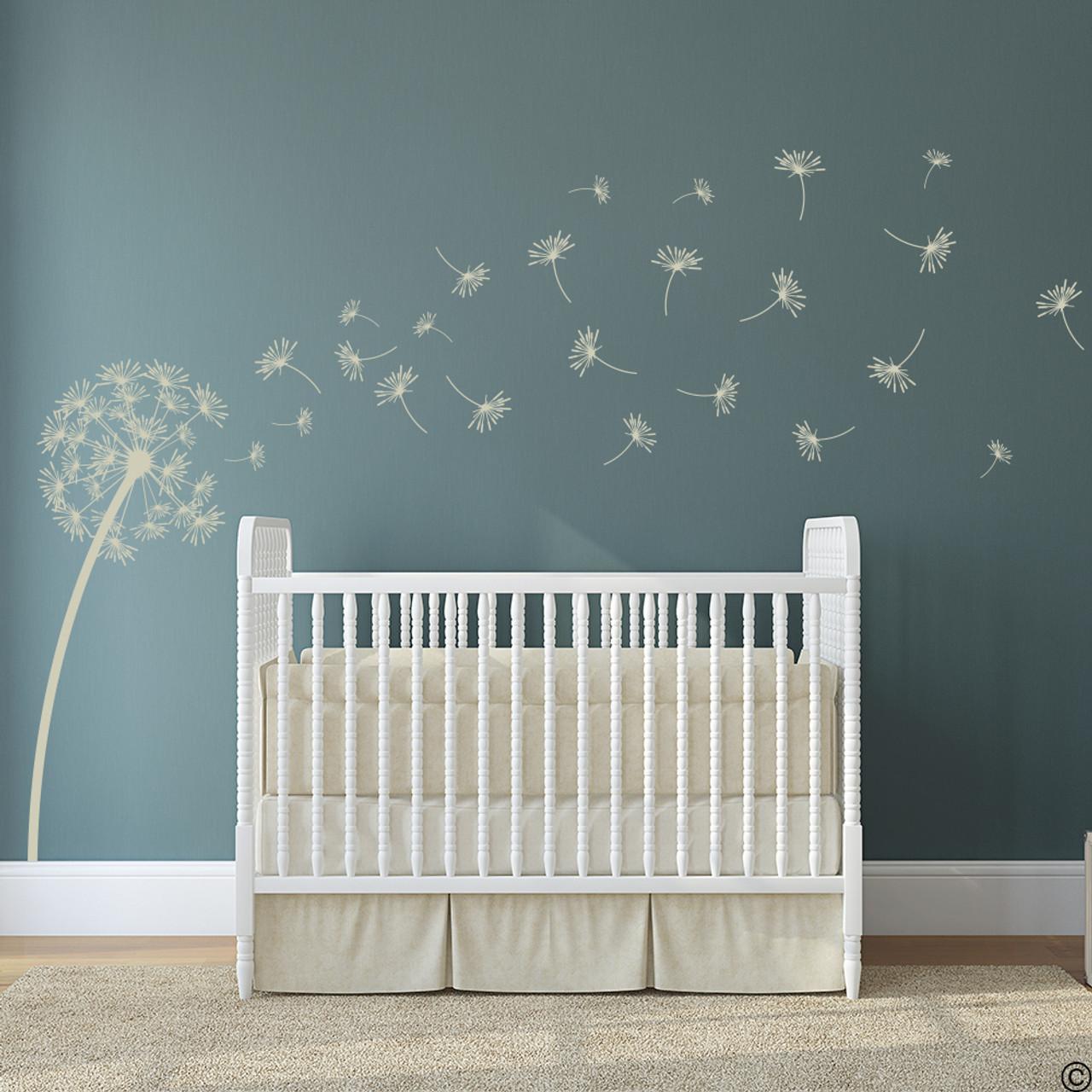 The Glinda dandelion vinyl wall decal in warm grey