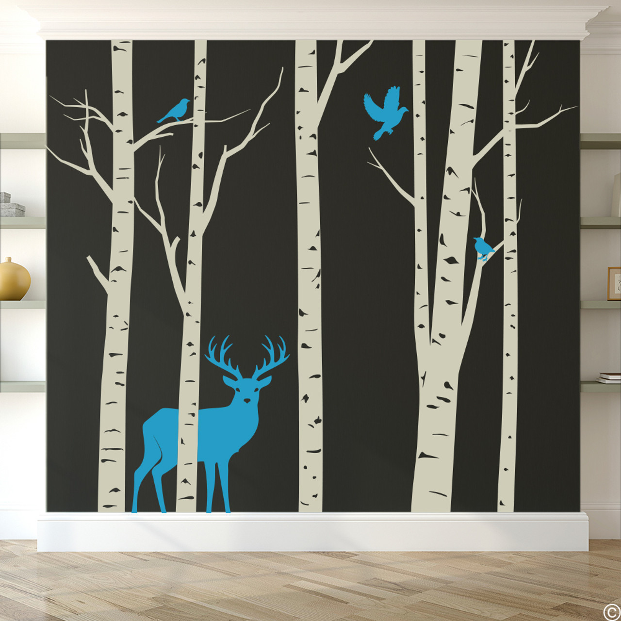 Aspen Trees mural with deer and birds vinyl wall decal in warm grey and light blue.