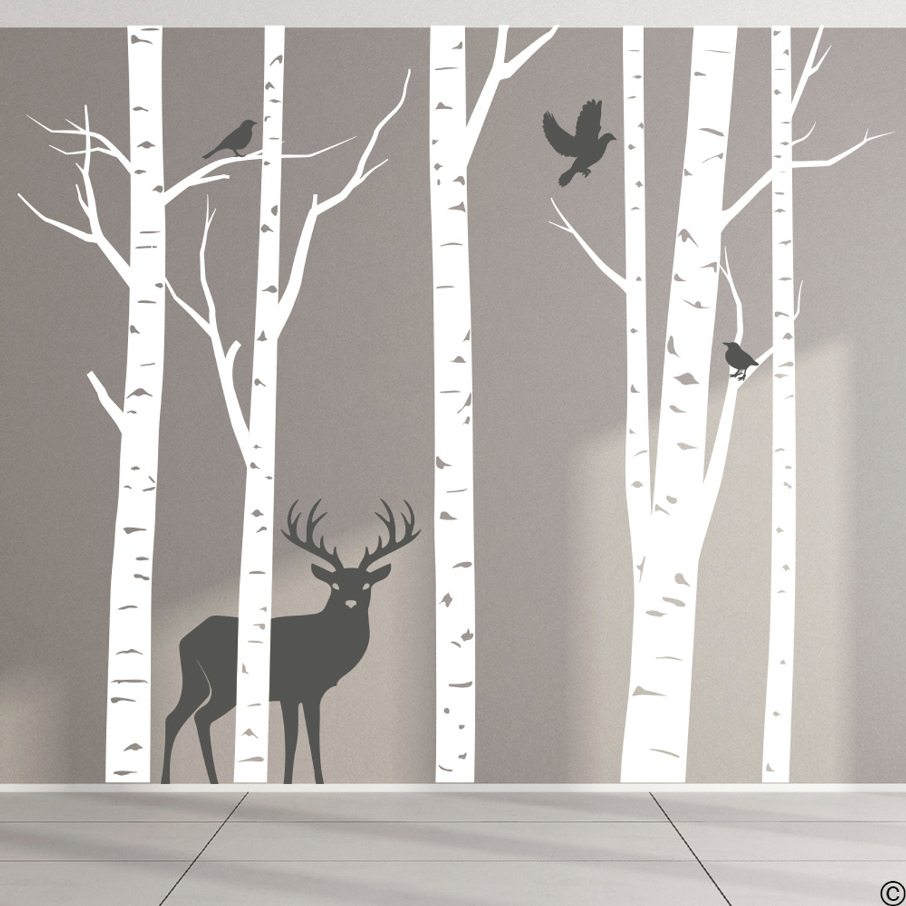 Aspen Trees mural with deer and birds vinyl wall decal in white and dark grey