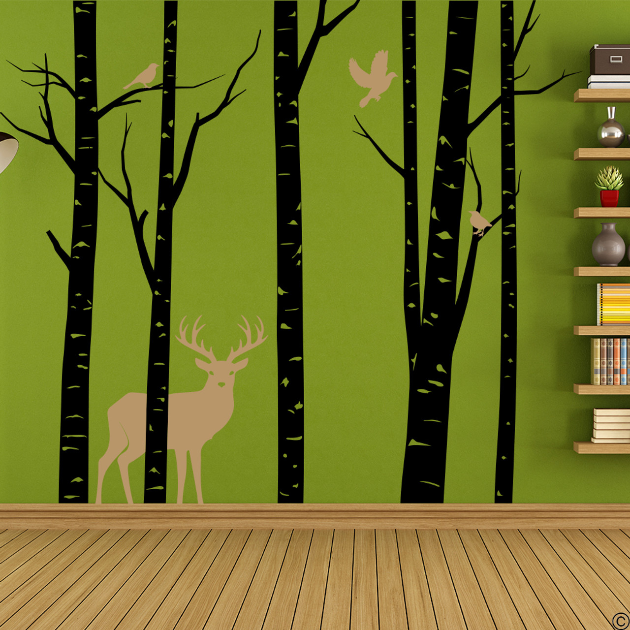 Aspen Trees mural with deer and birds vinyl wall decal in black and light brown