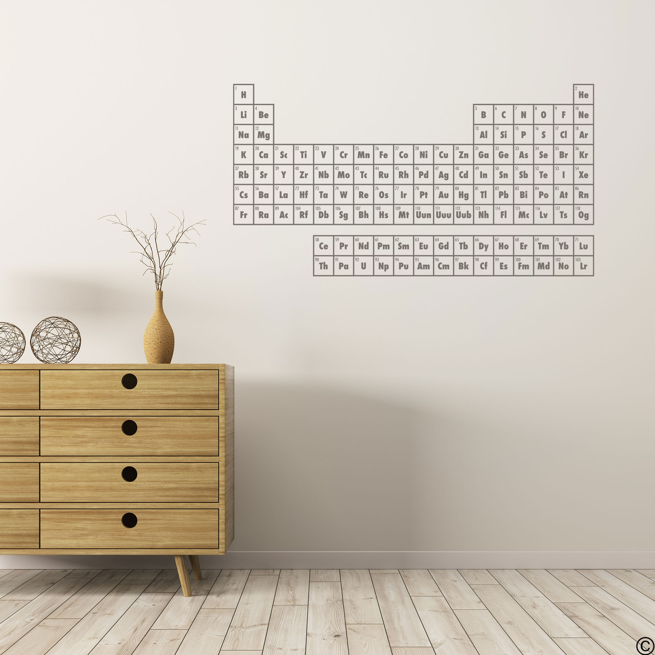 The Periodic Table of Elements wall decal shown here in limited edition castle grey vinyl.