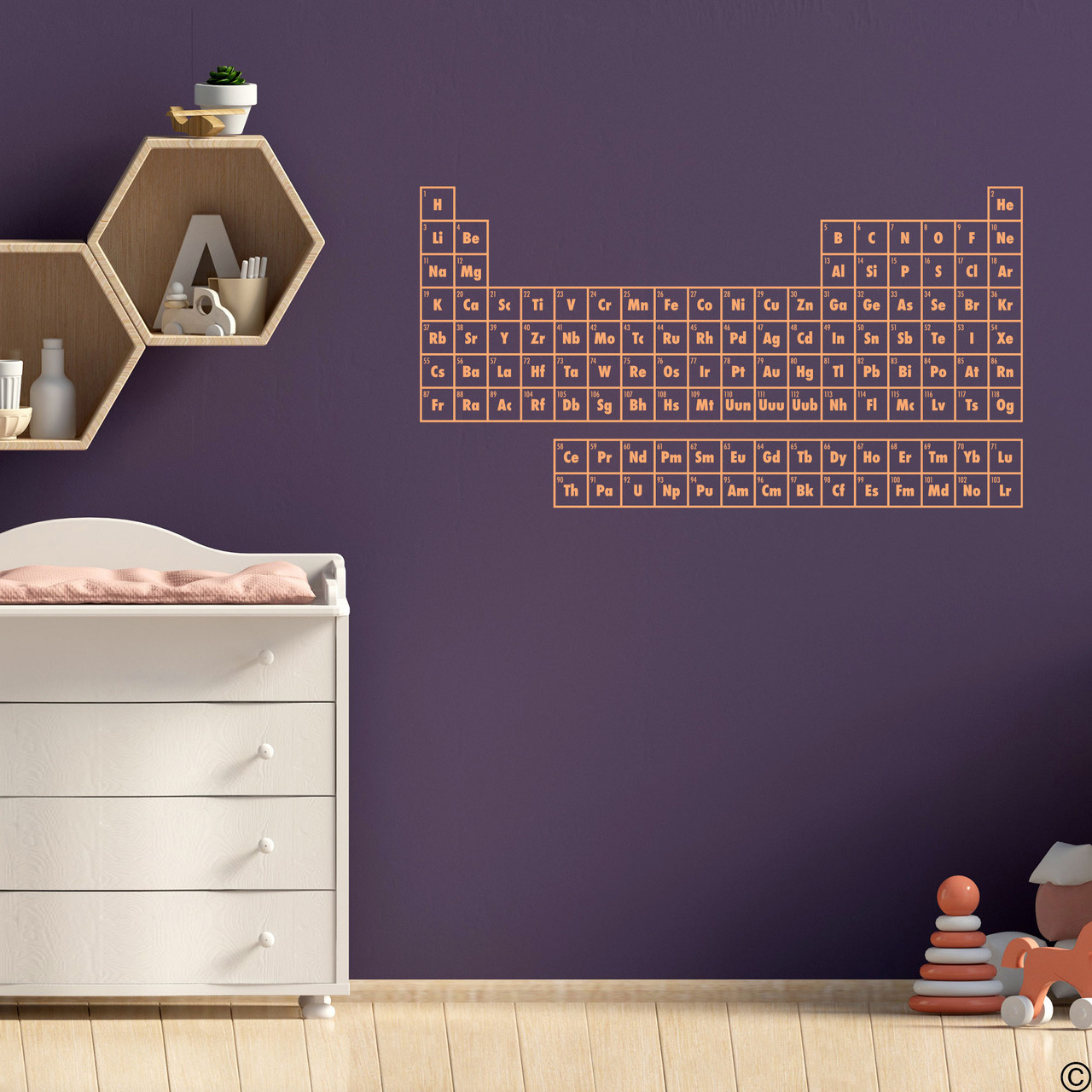 The Periodic Table of Elements wall decal shown here in limited edition apricot vinyl.
