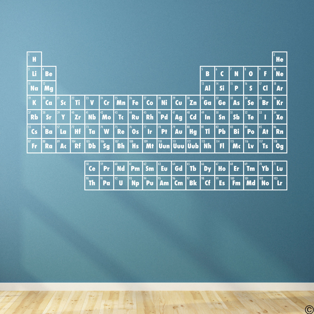 The Periodic Table of Elements wall decal shown here in white vinyl.