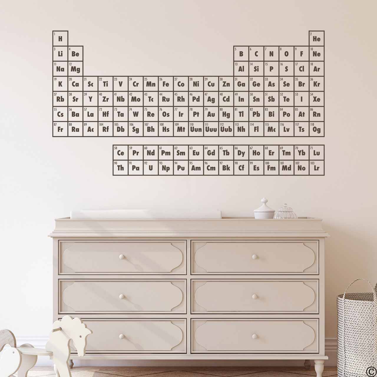 The Periodic Table of Elements wall decal shown here in brown vinyl.