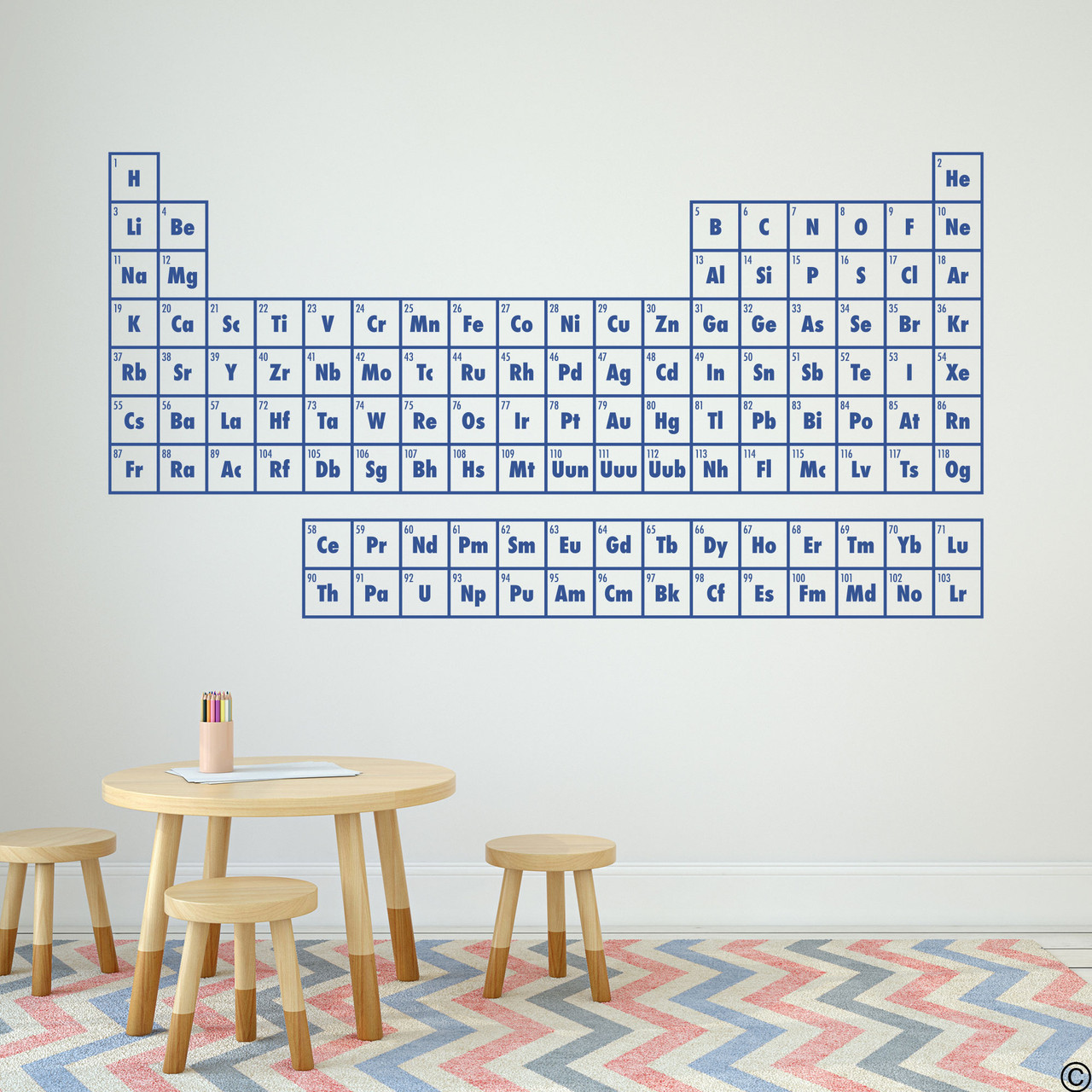 The Periodic Table of Elements wall decal shown here in limited edition denim vinyl.