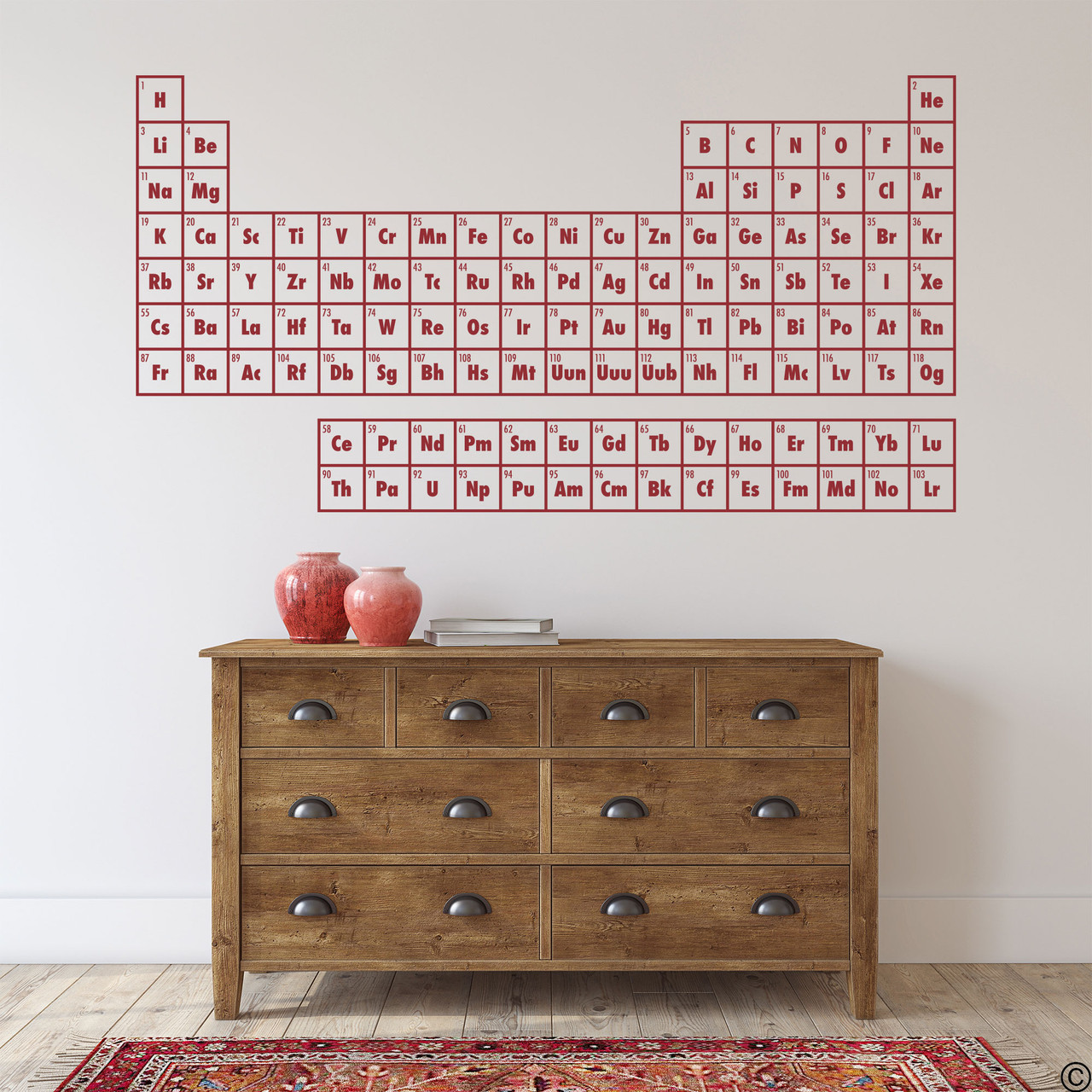 The Periodic Table of Elements wall decal shown here in dark red vinyl.