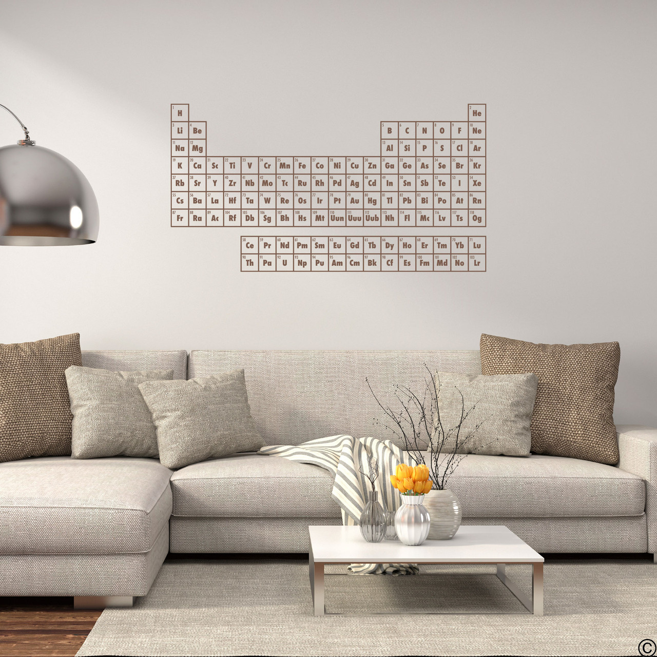The Periodic Table of Elements wall decal shown here in limited edition espresso vinyl.