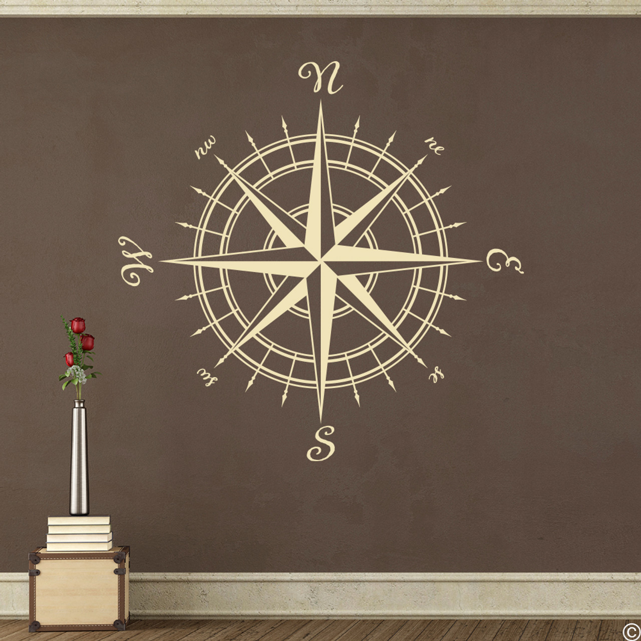 The Erasmus compass rose vinyl wall or ceiling decal in beige