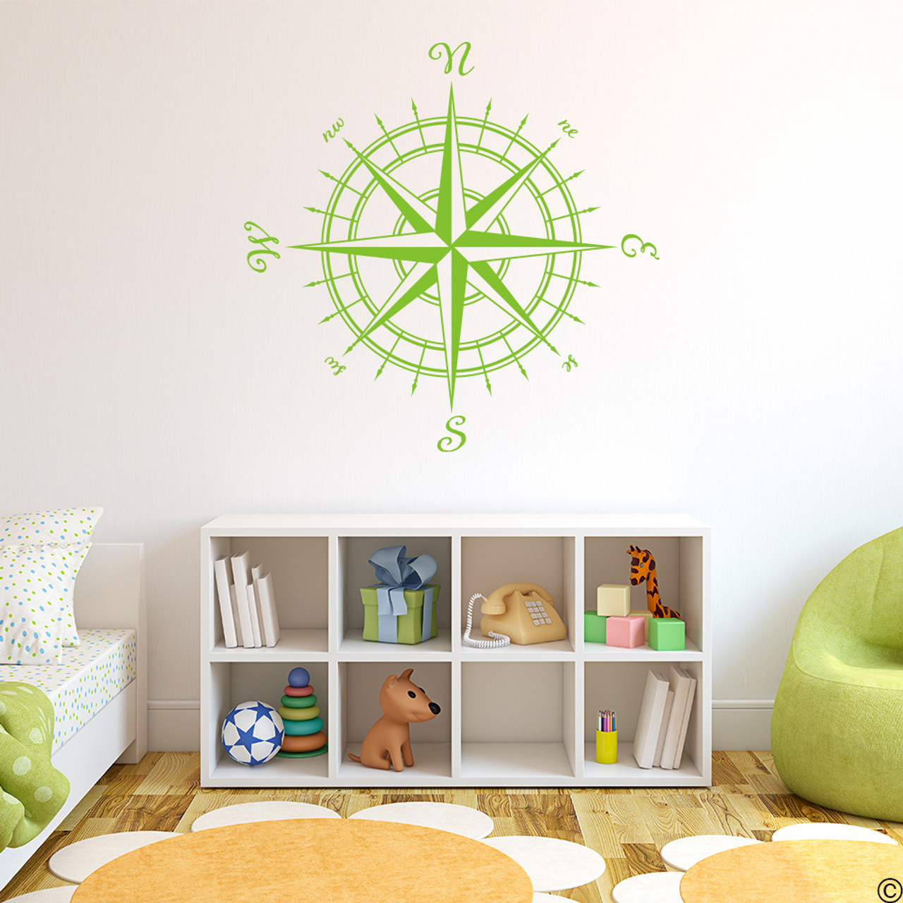 The Erasmus compass rose vinyl wall or ceiling decal in lime-tree green