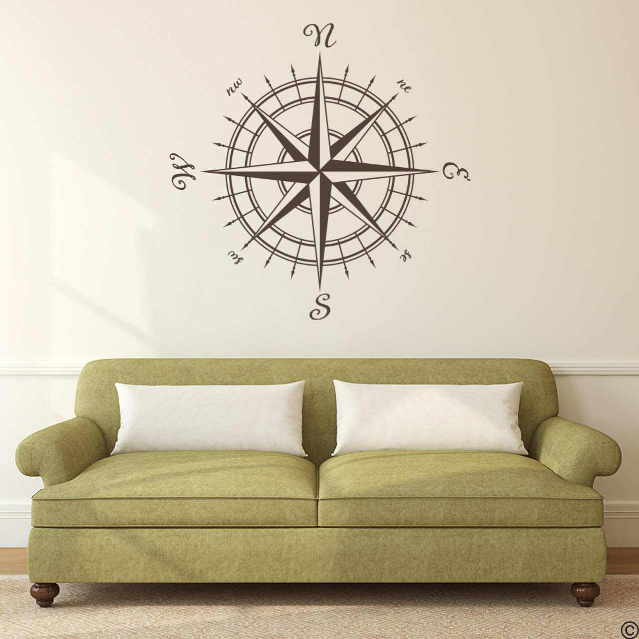 The Erasmus compass rose vinyl wall or ceiling decal in brown