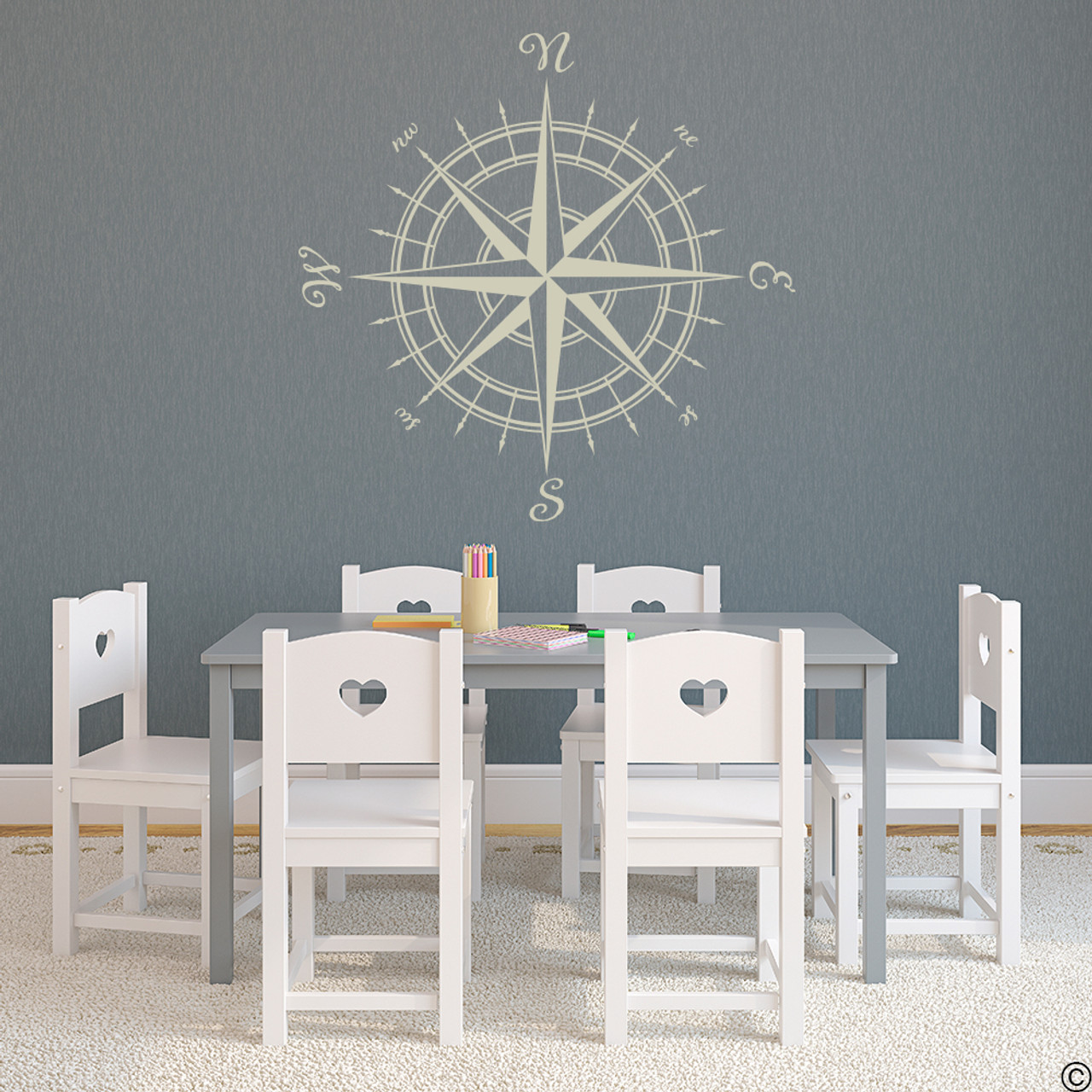 The Erasmus compass rose vinyl wall or ceiling decal in warm grey