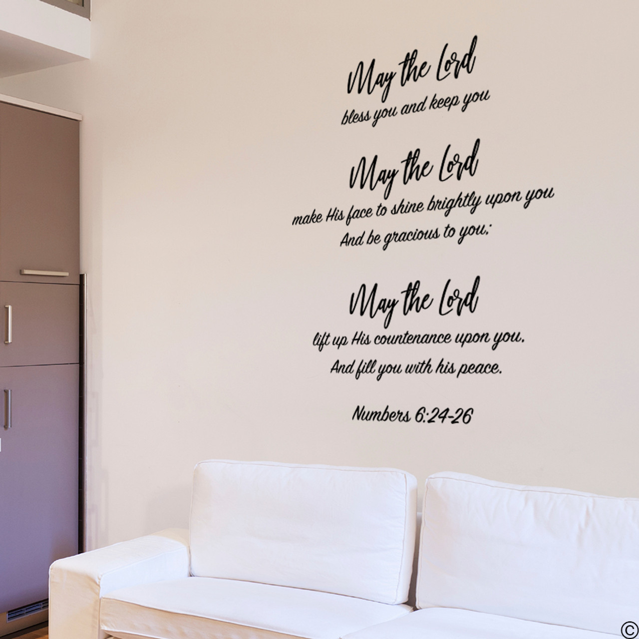 Numbers 6:24-26 vinyl wall decal quote in black