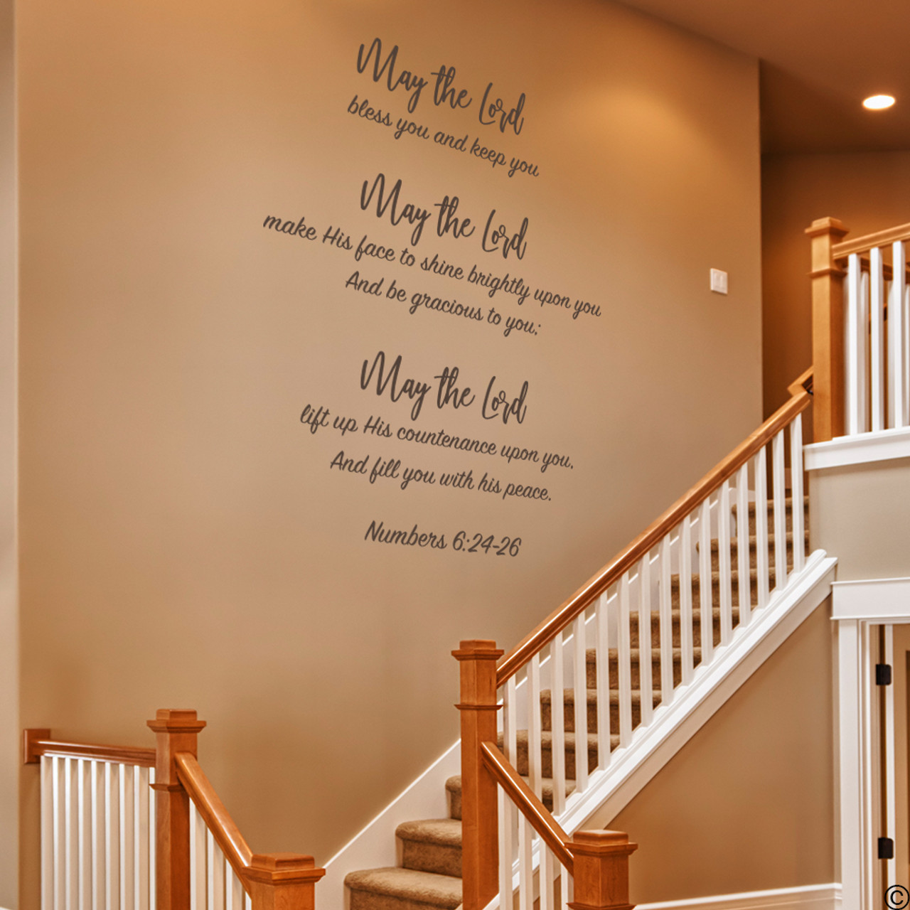 Numbers 6:24-26 vinyl wall decal quote in brown