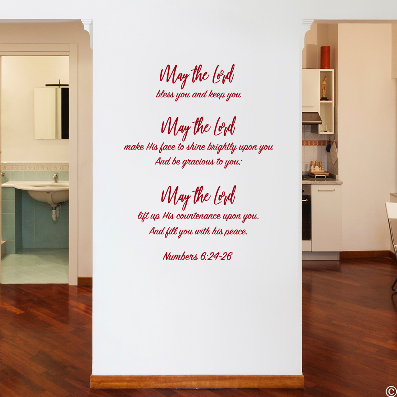 Numbers 6:24-26 vinyl wall decal quote in dark red