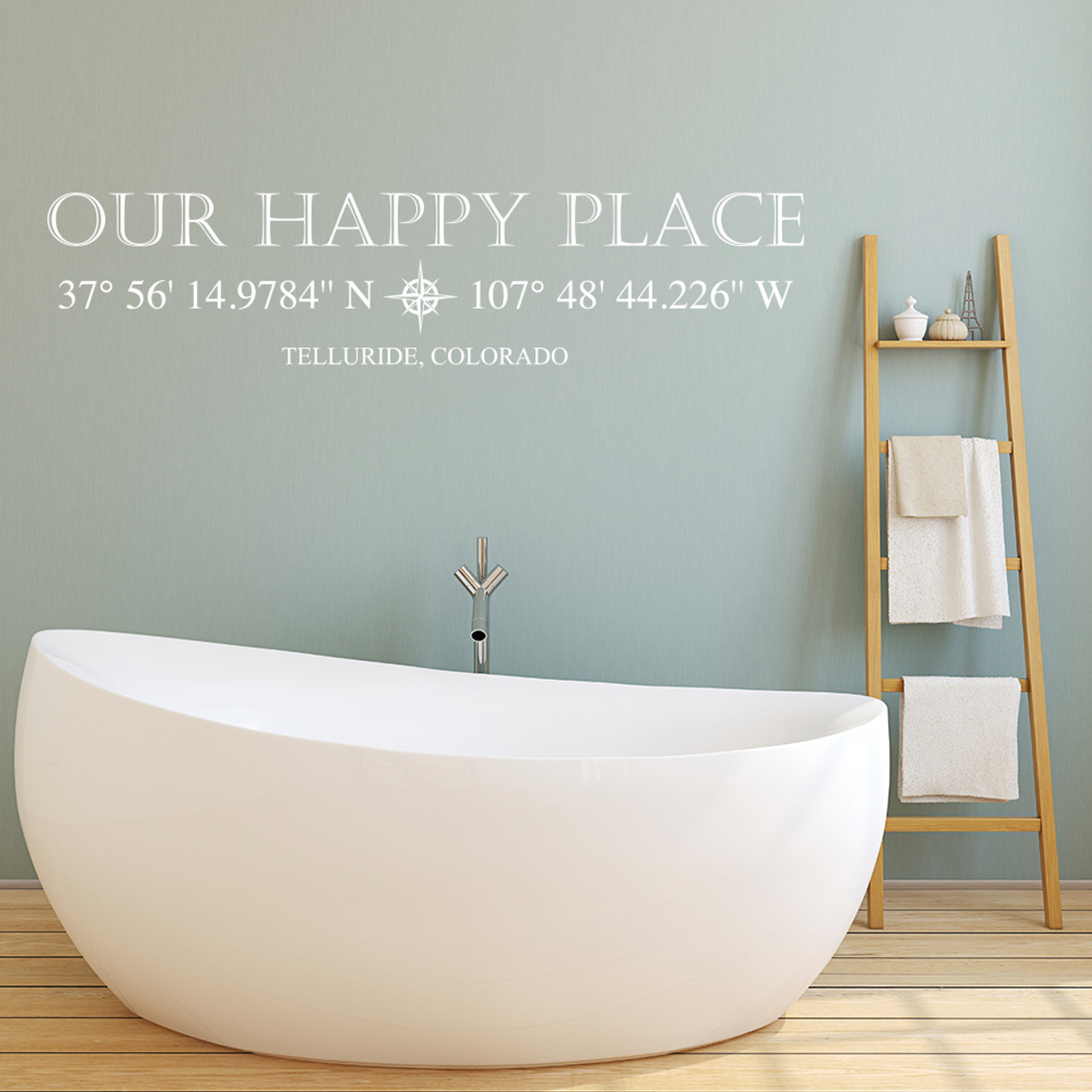 Our Happy Place vinyl wall decal with customizable coordinates, town and state name in white