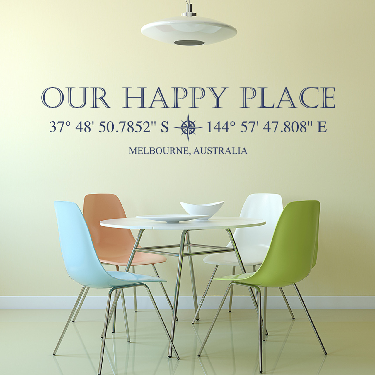 Our Happy Place vinyl wall decal with customizable coordinates, town and state name in dark blue