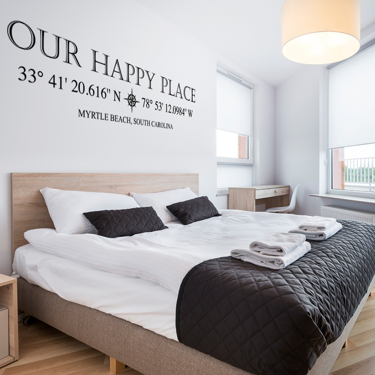 Our Happy Place vinyl wall decal with customizable coordinates, town and state name in black