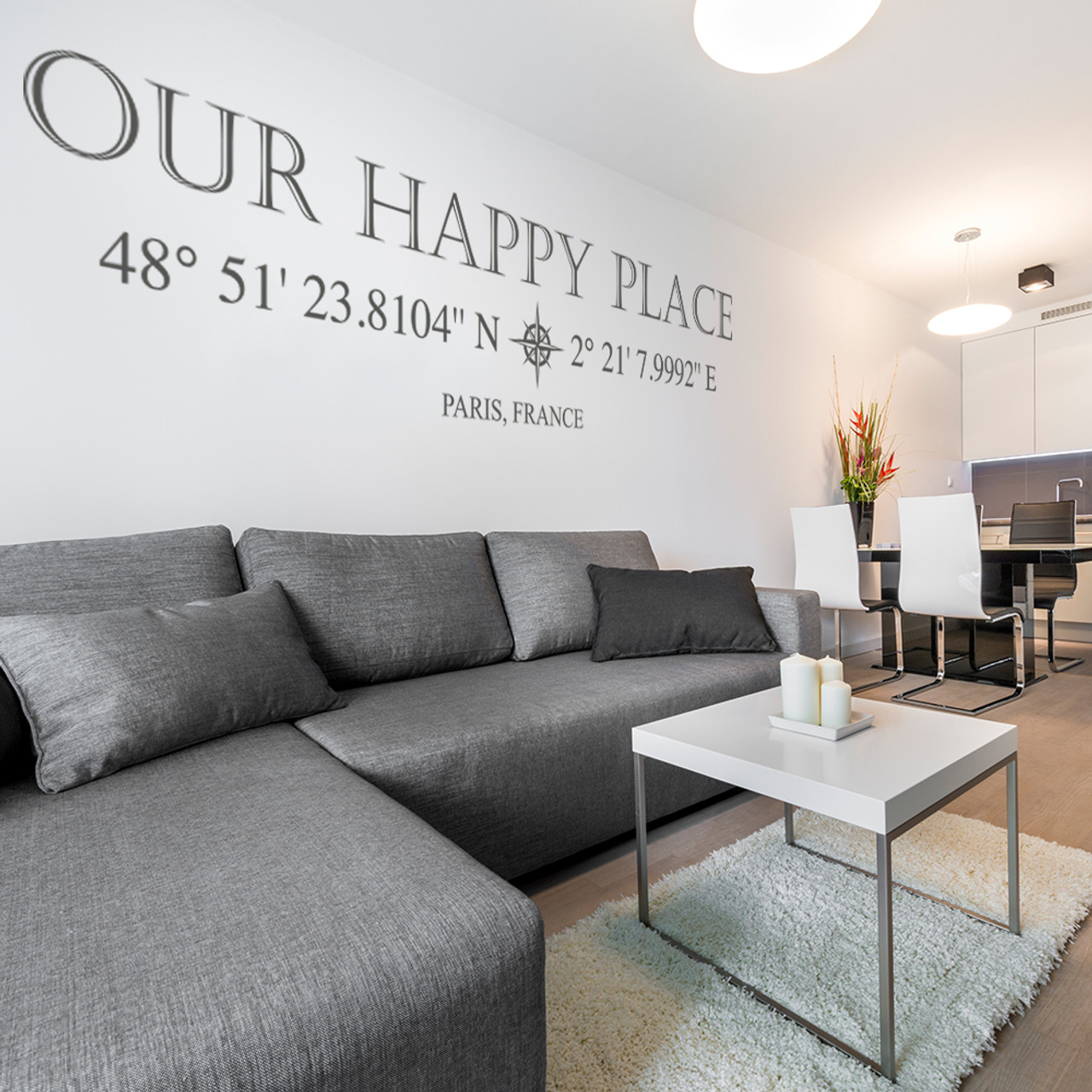 Our Happy Place vinyl wall decal with customizable coordinates, town and state name in dark grey