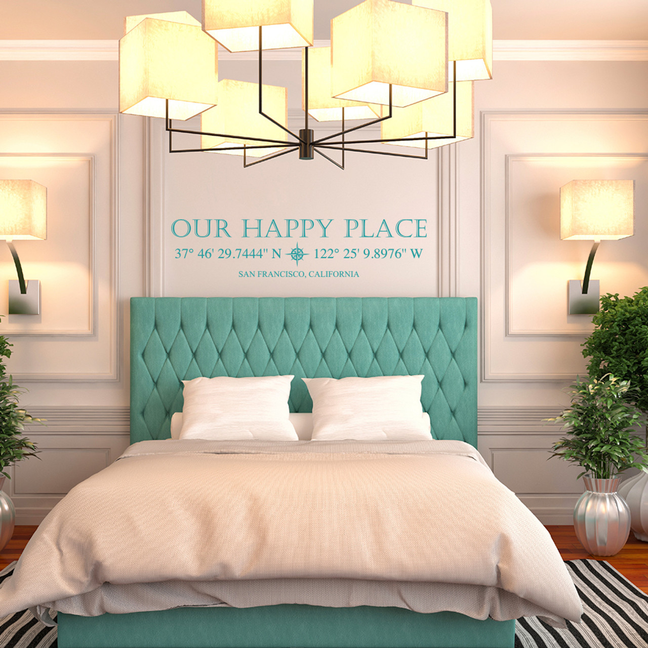 Our Happy Place vinyl wall decal with customizable coordinates, town and state name in teal