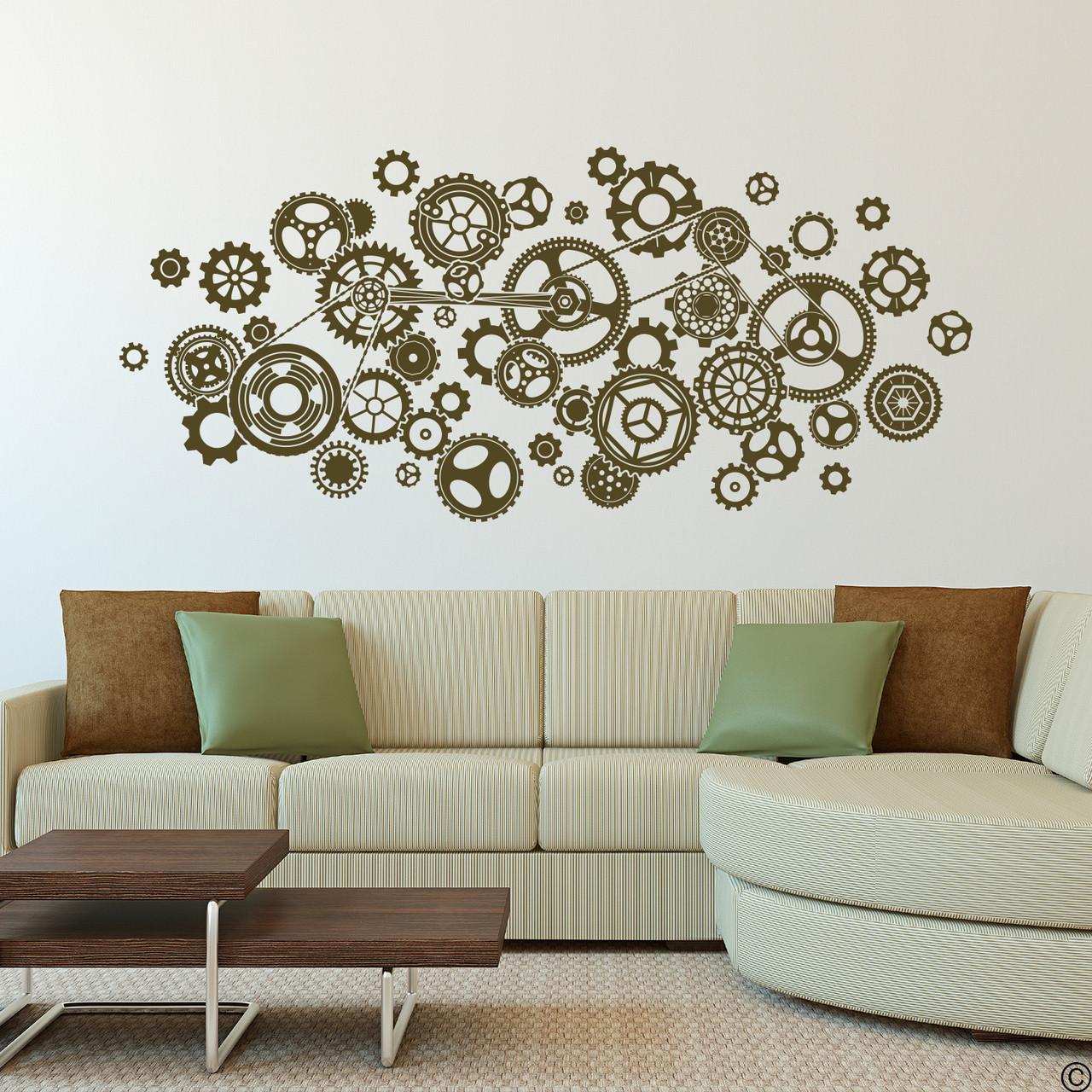 Steampunk Gears Vinyl Wall Decal in nougat brown