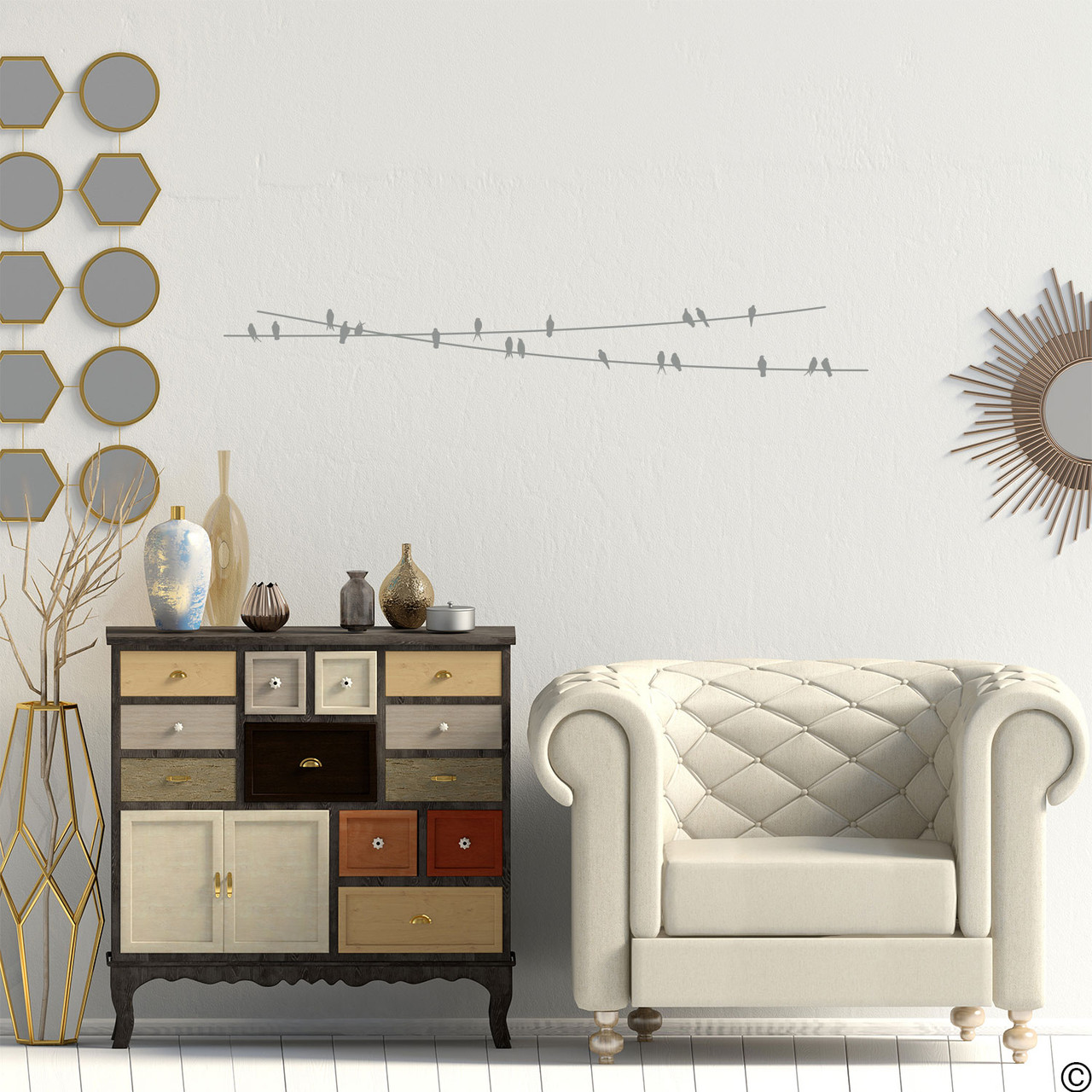 """The """"Birds On Wire"""" wall decal placed in a living room in middle grey vinyl color."""