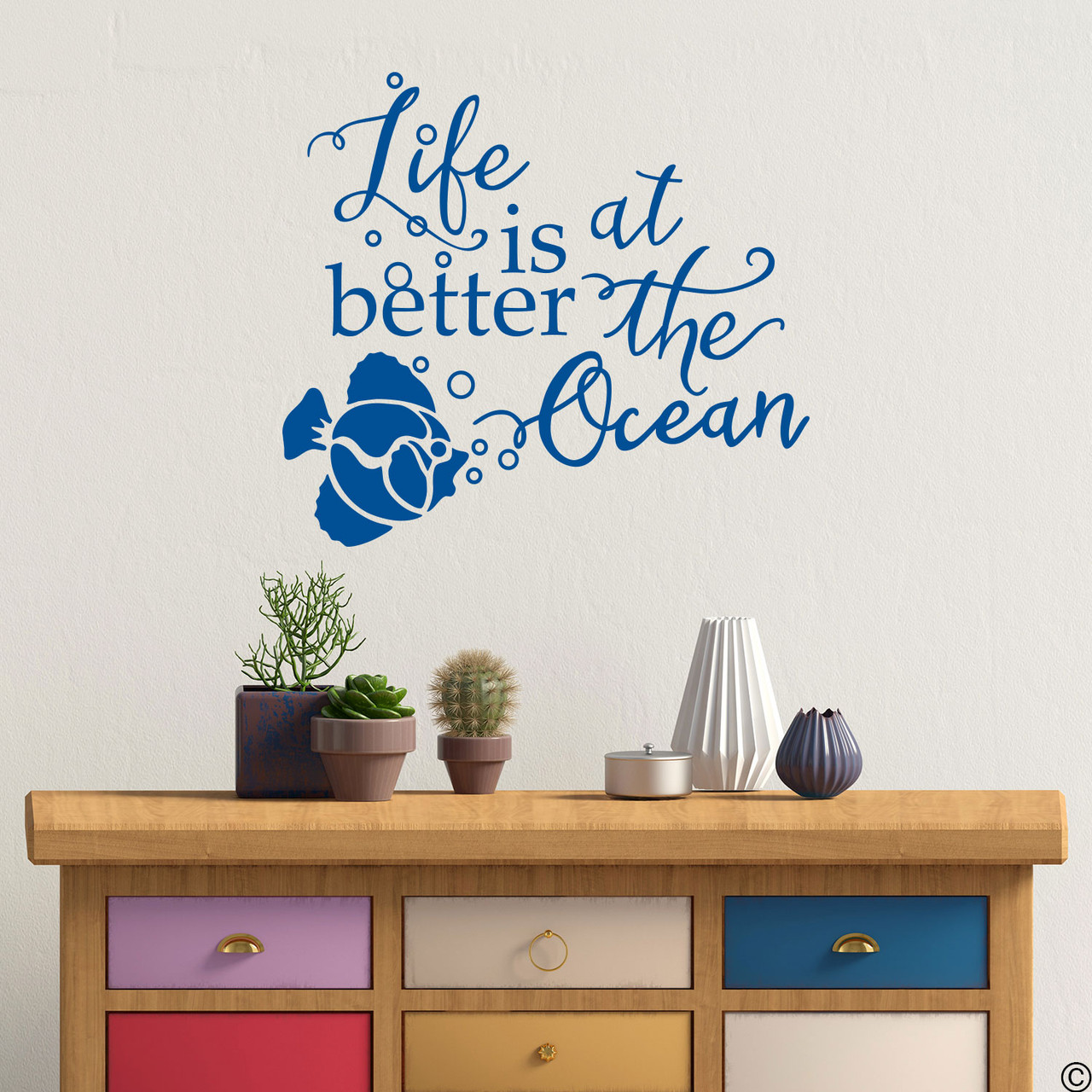 Fish Wall Decal With Better At The Ocean Quote