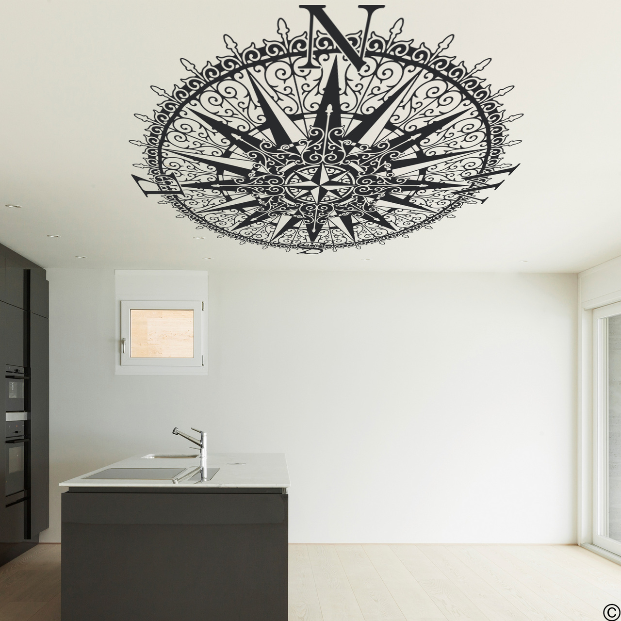 The Sherlock compass ceiling decal, shown here in black color.