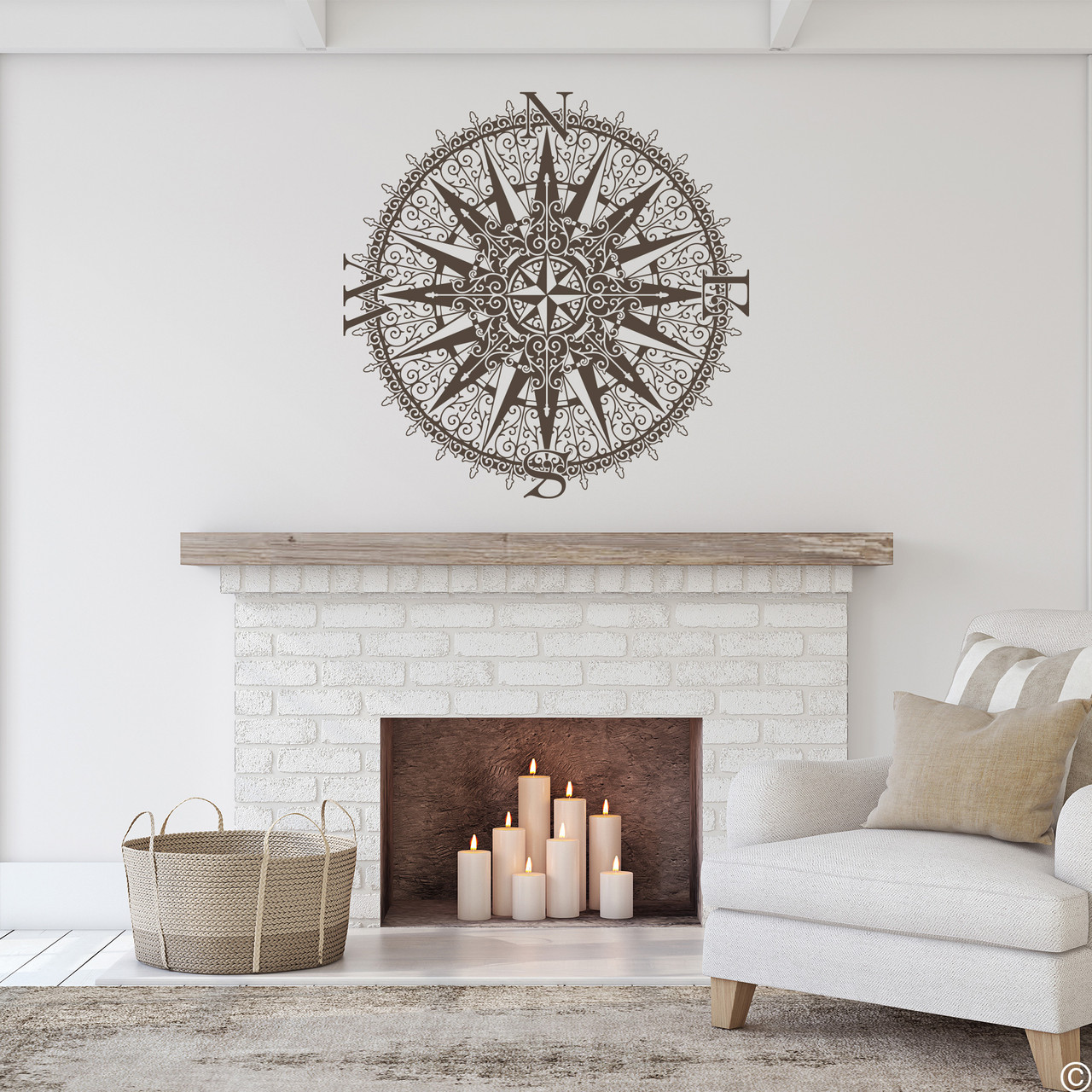 The Sherlock compass wall decal, shown here in brown color.