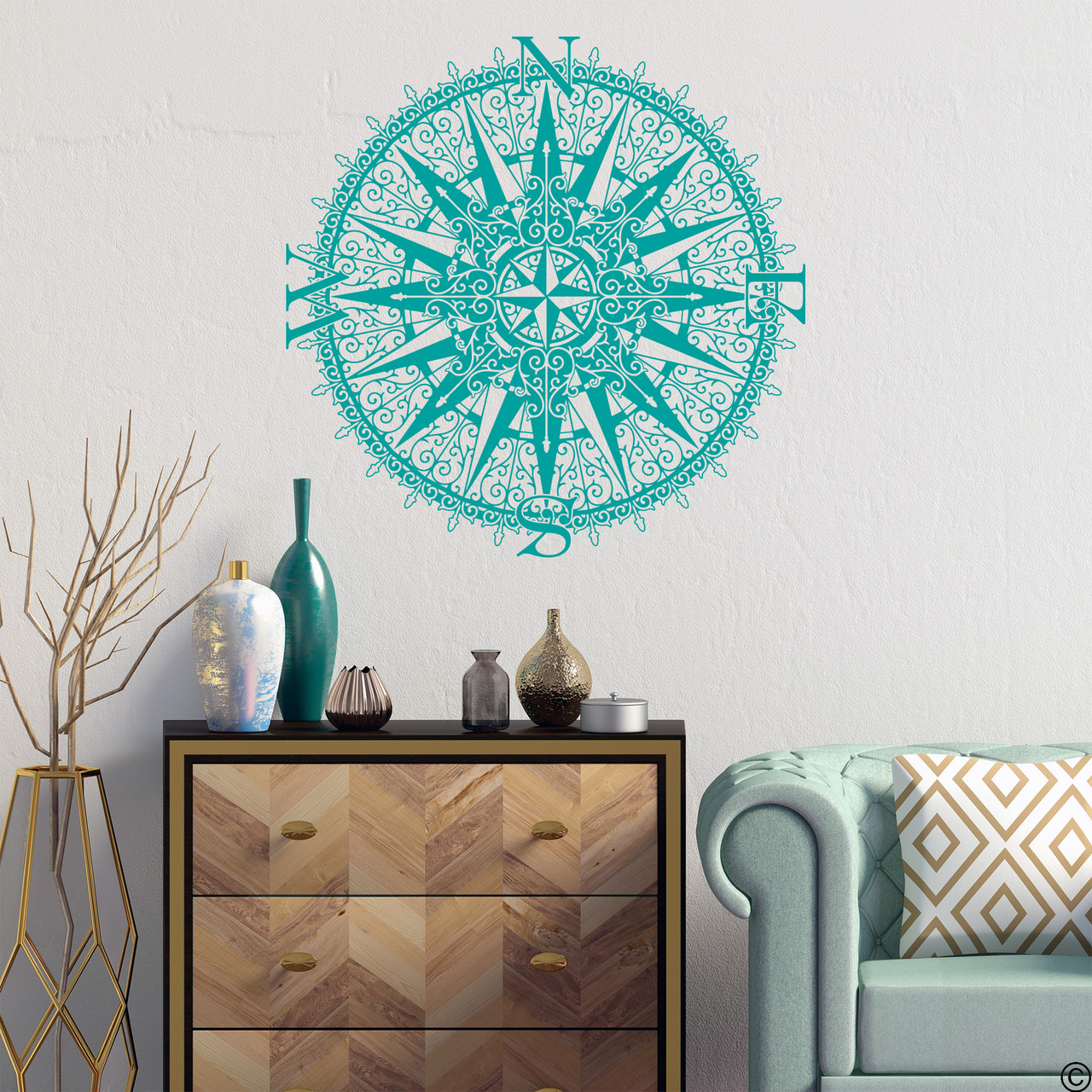 The Sherlock compass wall decal, shown here in turquoise color.