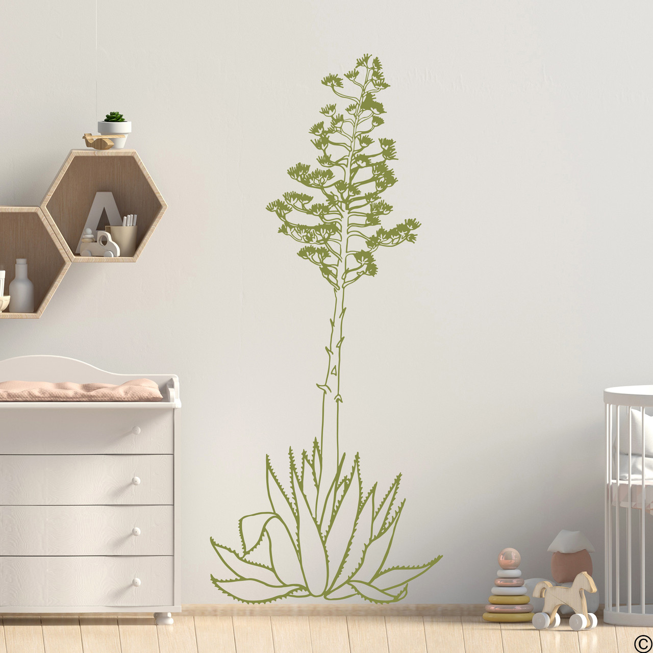 Hand drawn Agave Americana wall decal plant in limited edition marsh green.