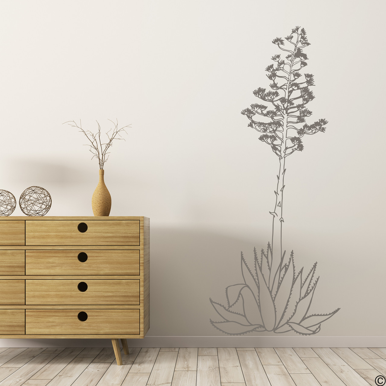 Hand drawn Agave Americana wall decal plant in limited edition castle grey.