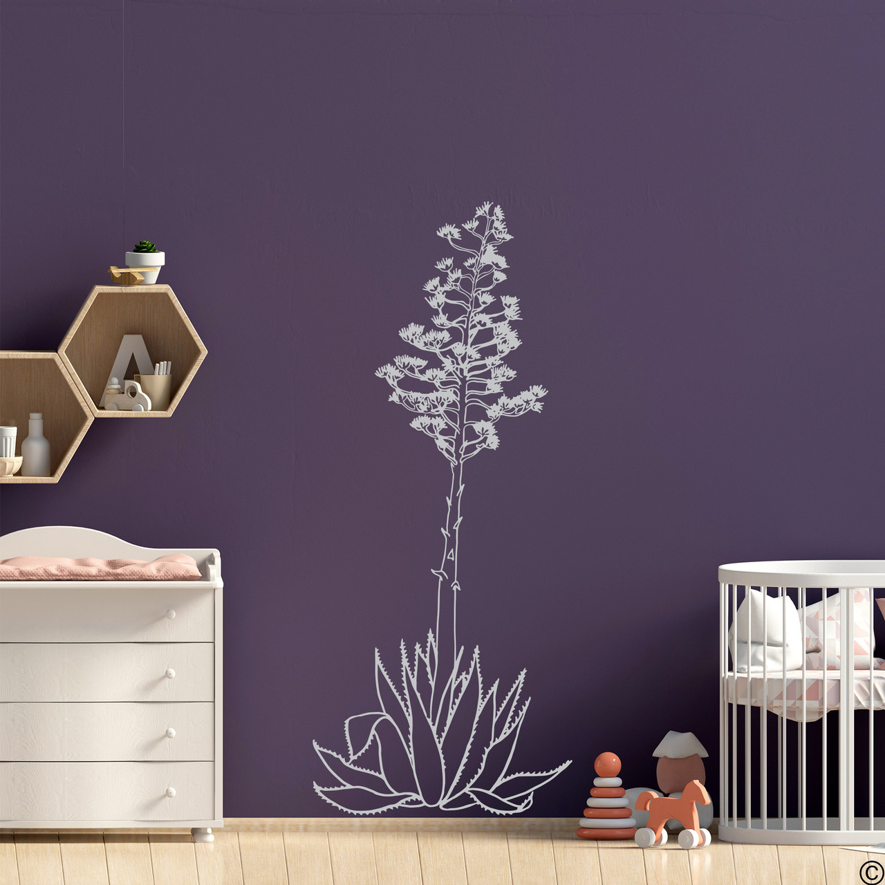 Hand drawn Agave Americana wall decal plant in light grey.