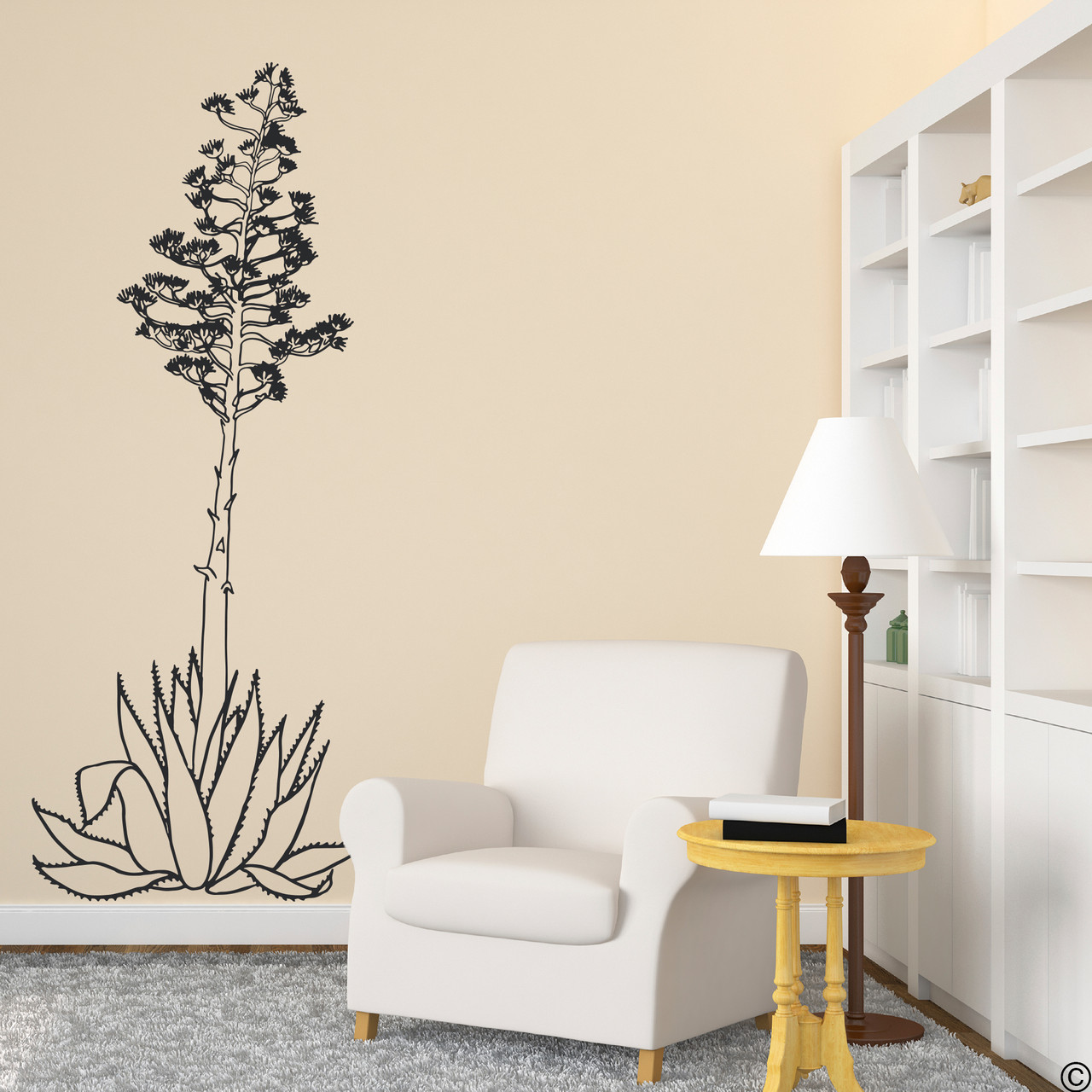 Hand drawn Agave Americana wall decal plant in black.