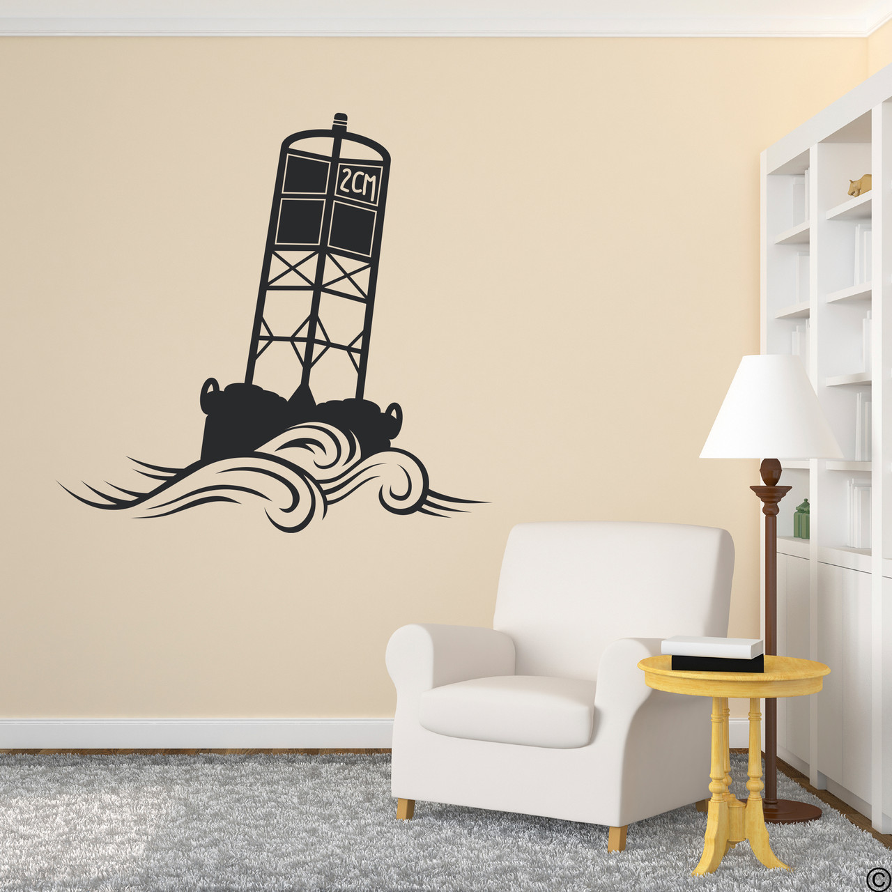The Cape May Harbor 2CM Buoy wall decal in black.