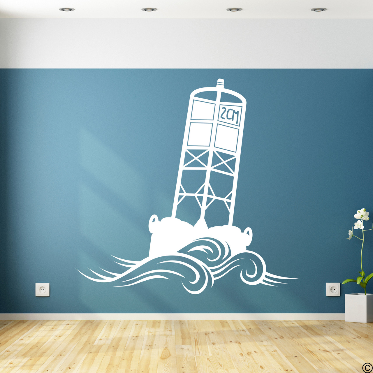 The Cape May Harbor 2CM Buoy wall decal in white.