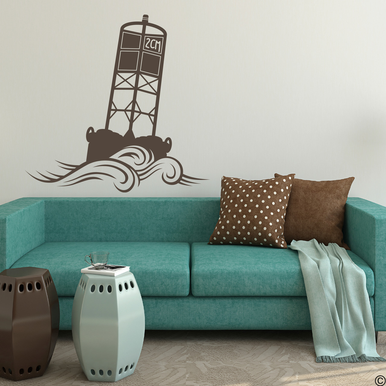 The Cape May Harbor 2CM Buoy wall decal in brown.
