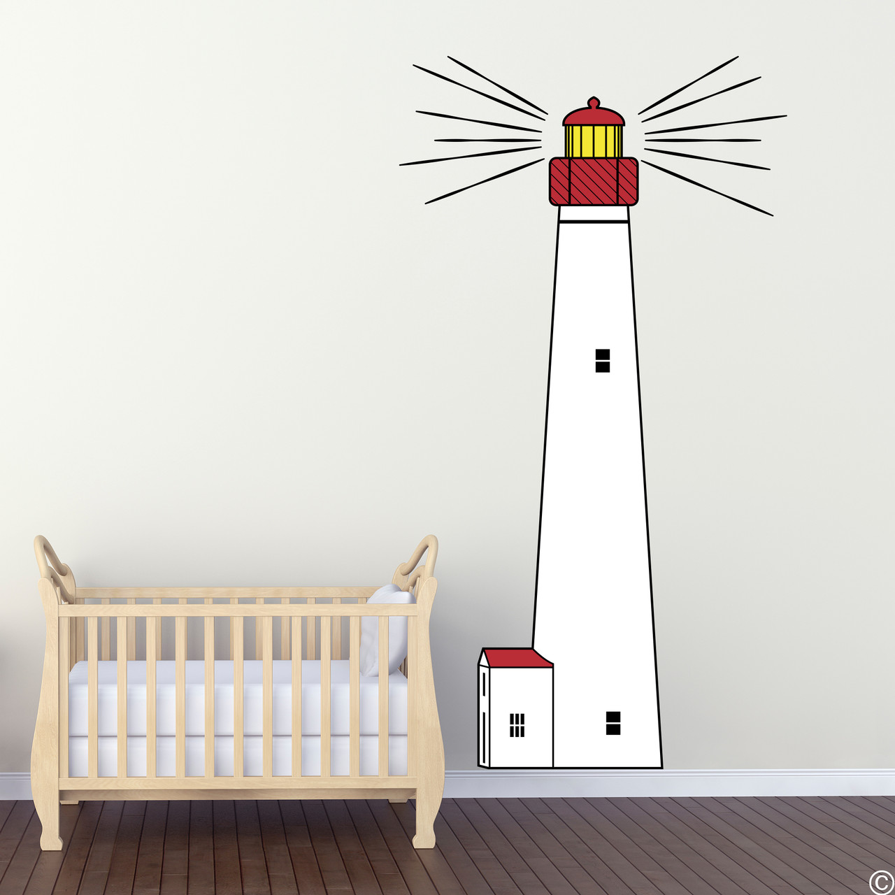 The Cape May Lighthouse multicolor vinyl wall decal shown here in a nursery.