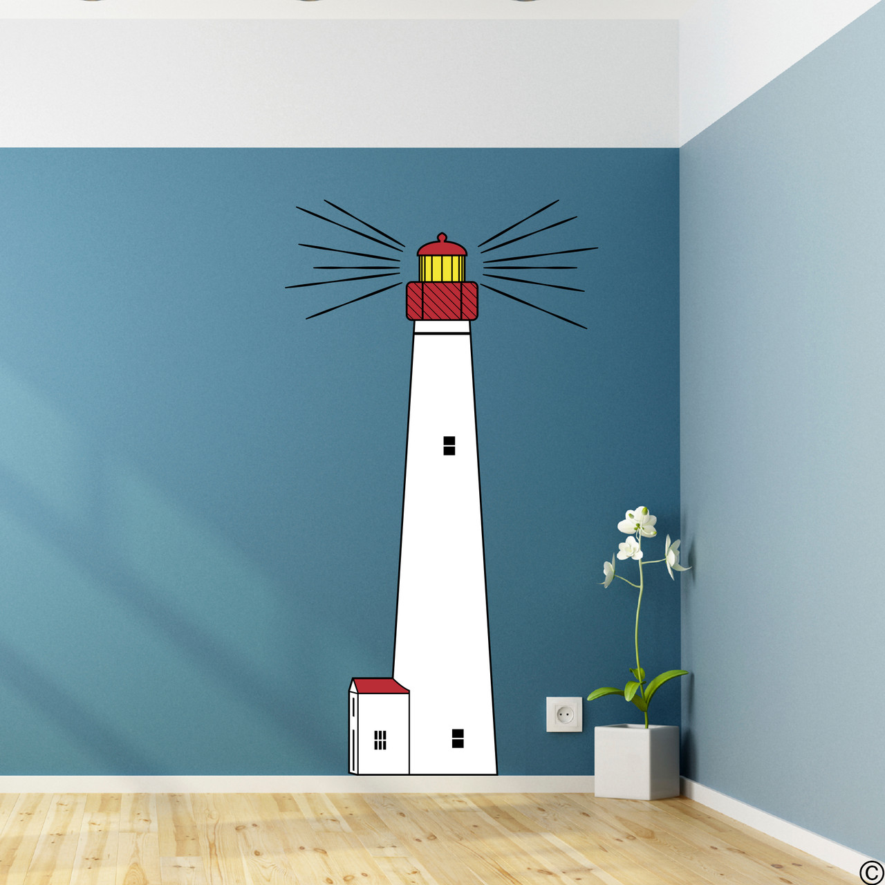 The Cape May Lighthouse multicolor vinyl wall decal in black, red, white, and brimstone yellow.
