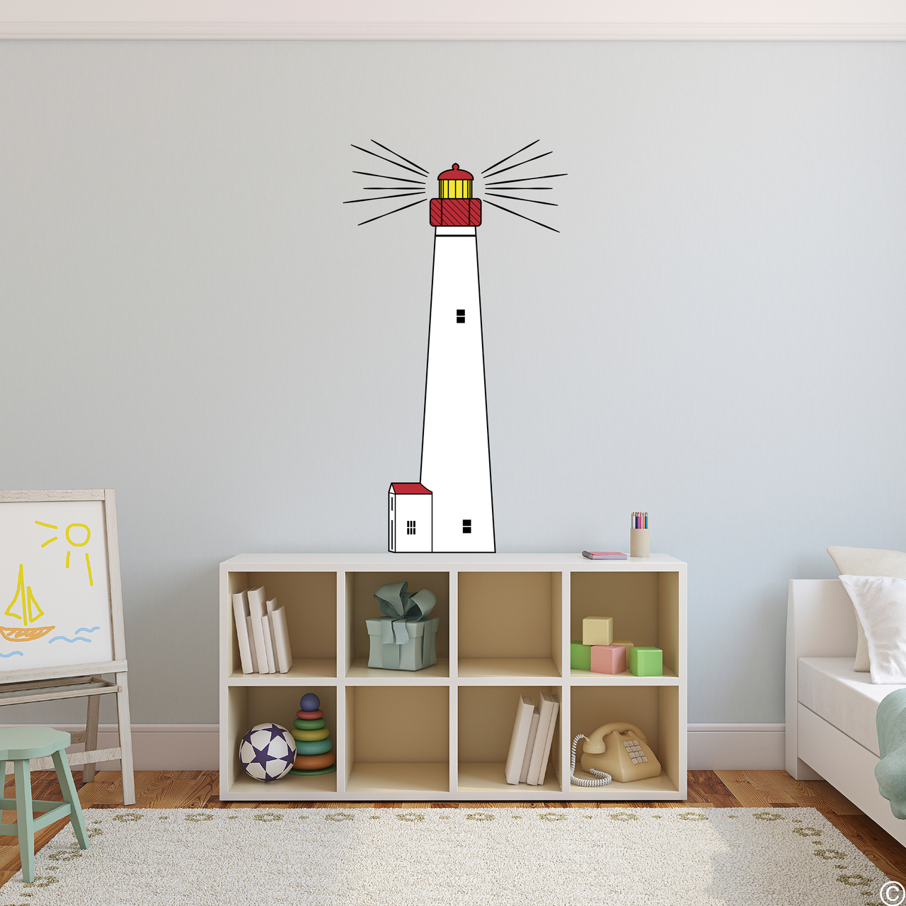 The Cape May Lighthouse multicolor vinyl wall decal shown here in a child's bedroom.
