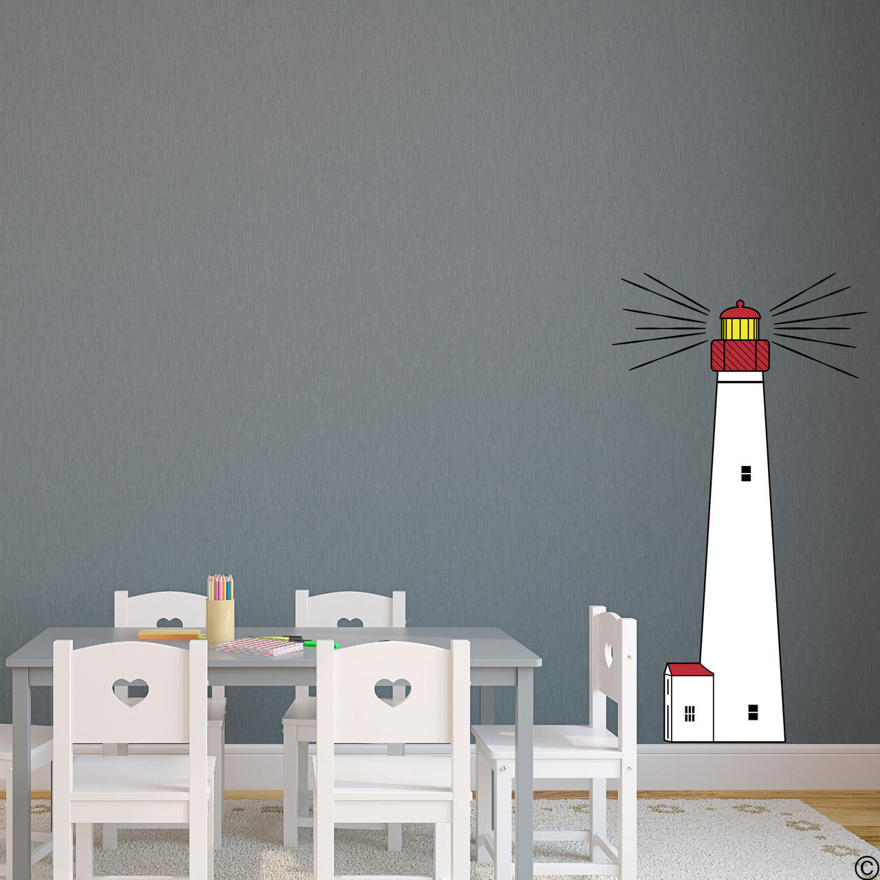 The Cape May Lighthouse multicolor vinyl wall decal shown here in a child's playroom.