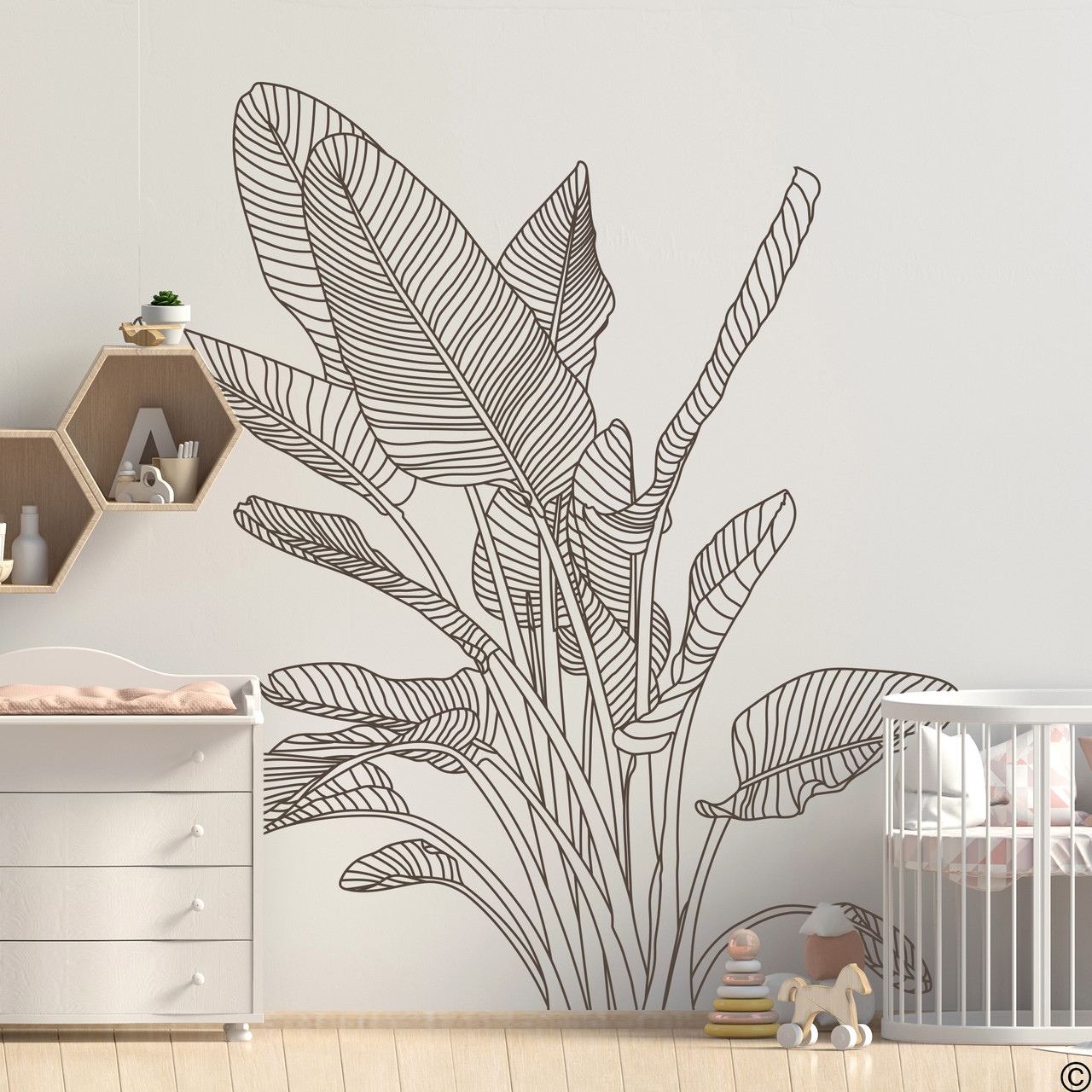 The Bird of Paradise wall decal art shown here in brown vinyl color.